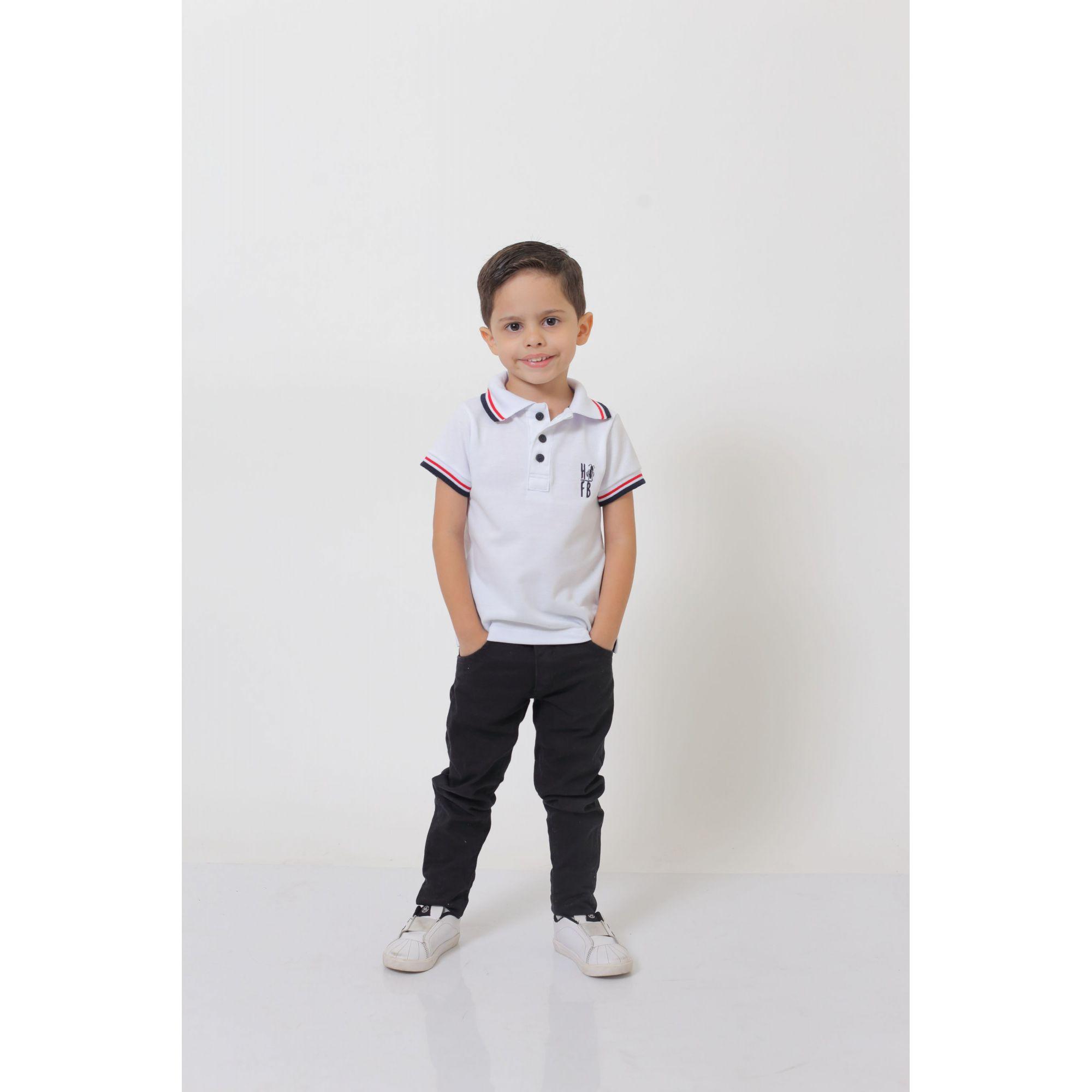 Camisa Polo ou Body Polo Infantil Branca