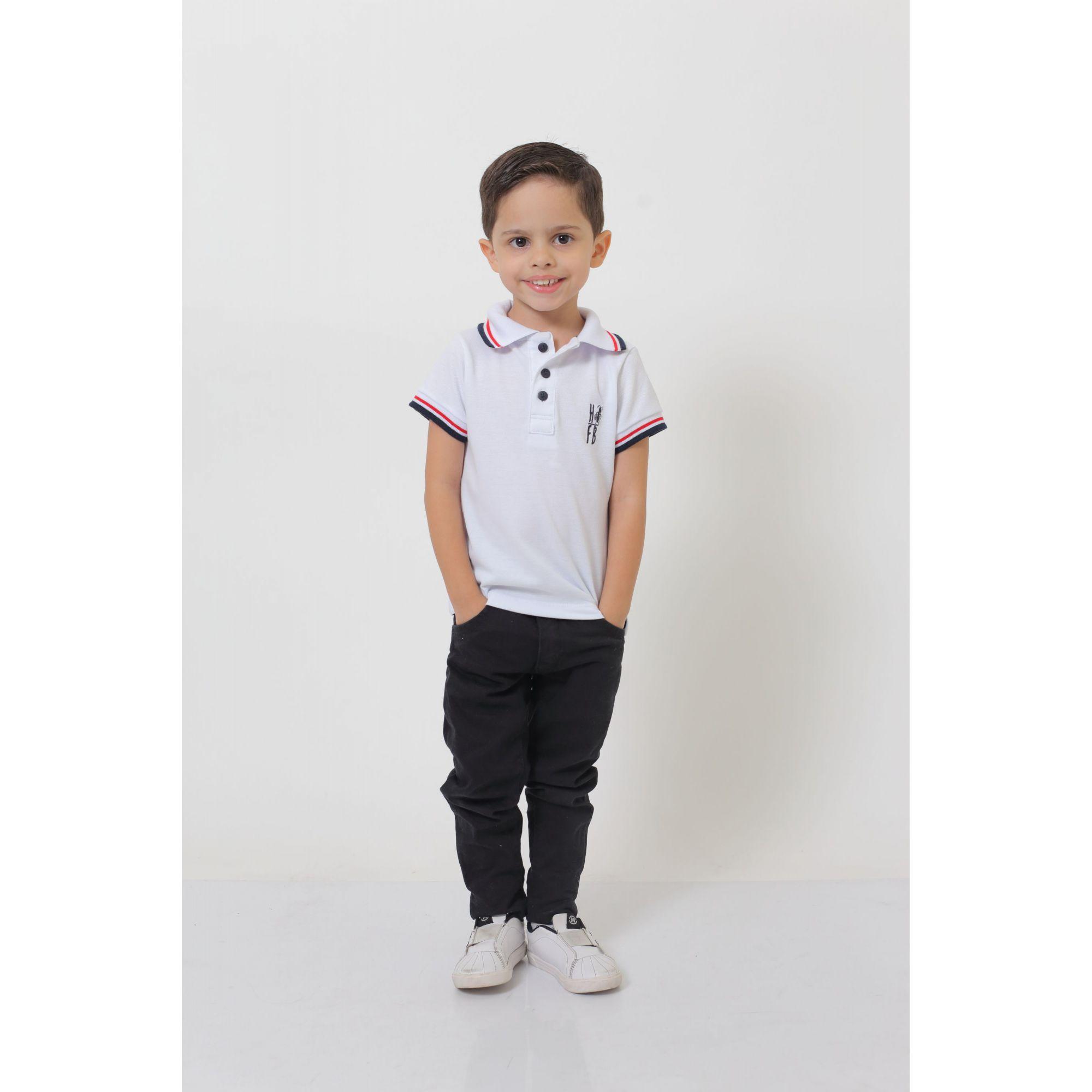 Camisa Polo ou Body Polo Infantil Branca  - Heitor Fashion Brazil