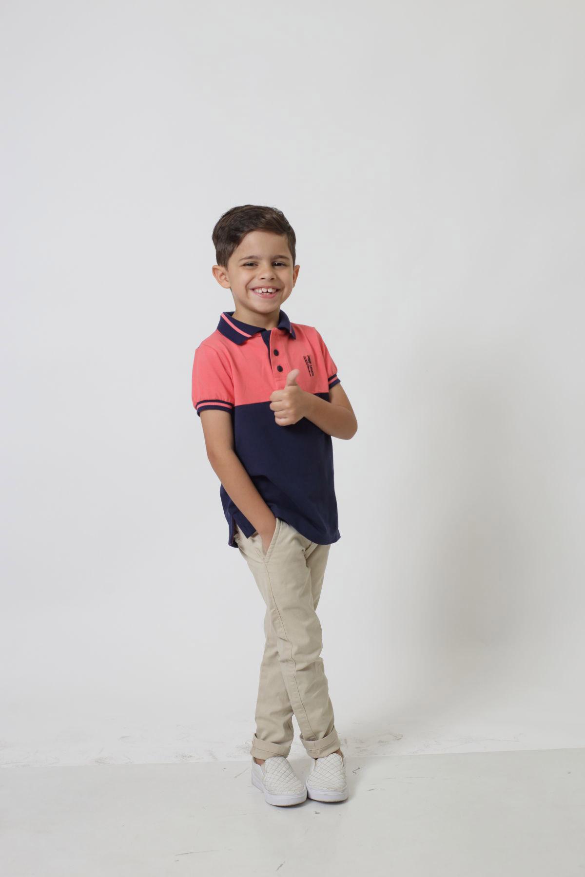 Camisa Polo ou Body Polo Infantil Goiaba com Marinho PREMIUM