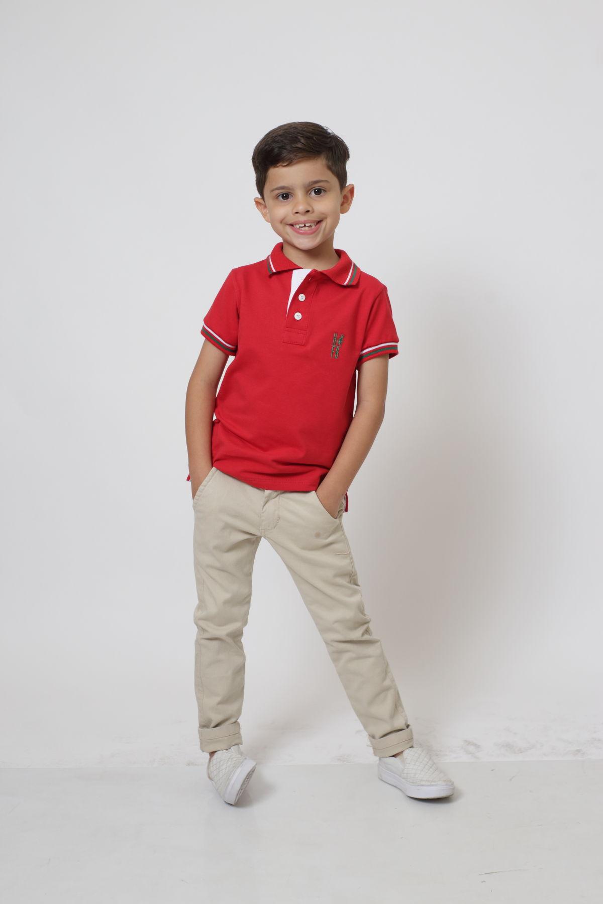 Camisa Polo ou Body Polo Infantil Vermelho PREMIUM