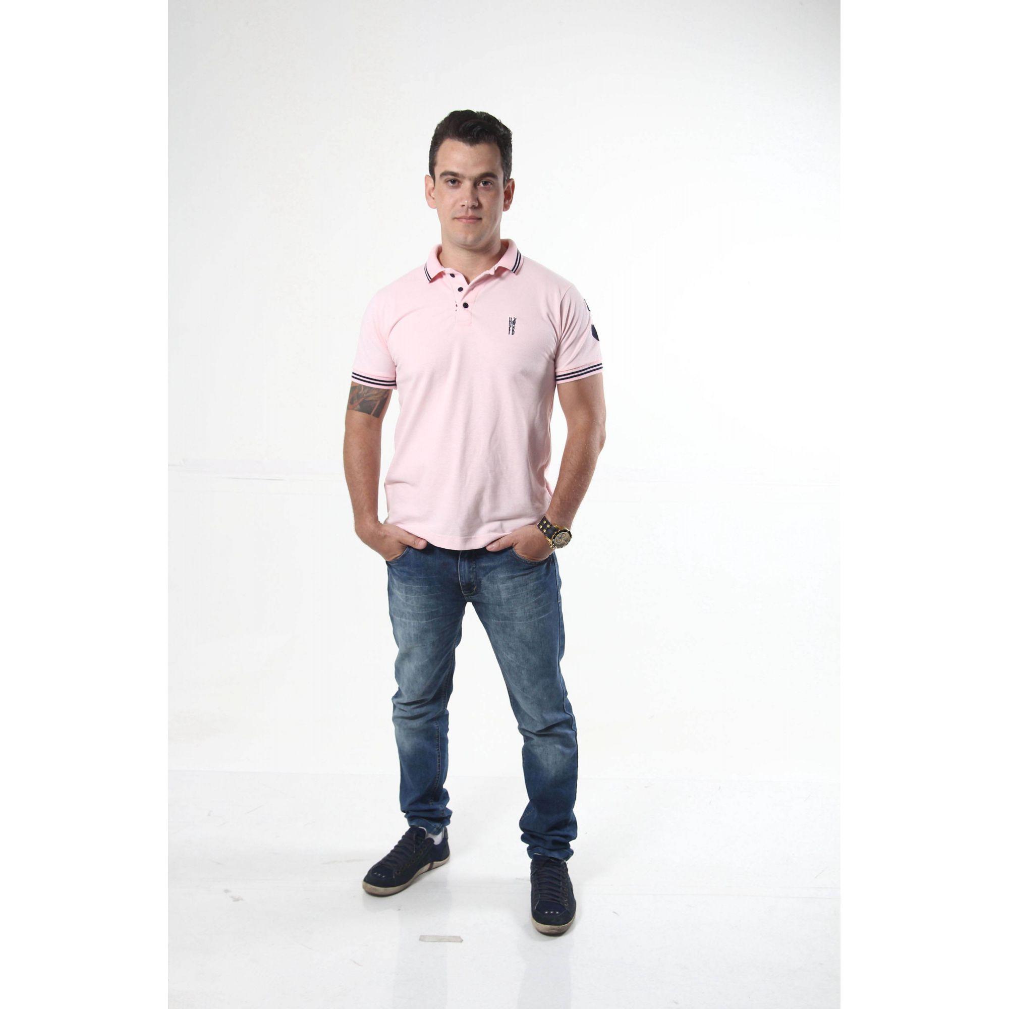 Camisa Polo Rosa Amor