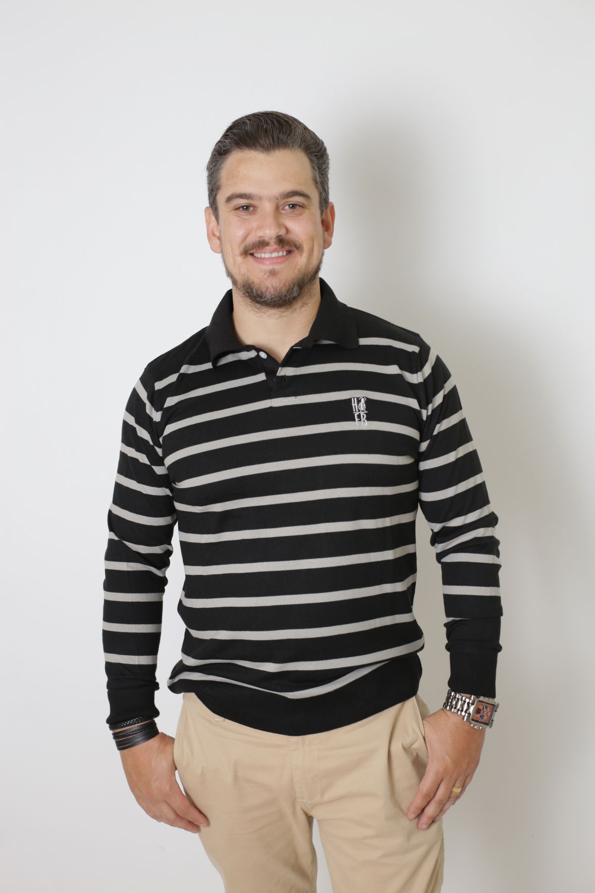 Camisa Polo Suéter Listrado Adulto