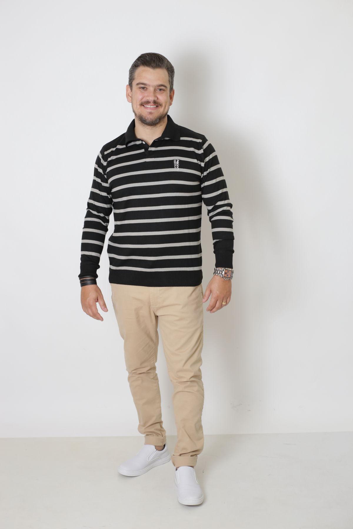 Camisa Polo Suéter Listrado Adulto  - Heitor Fashion Brazil