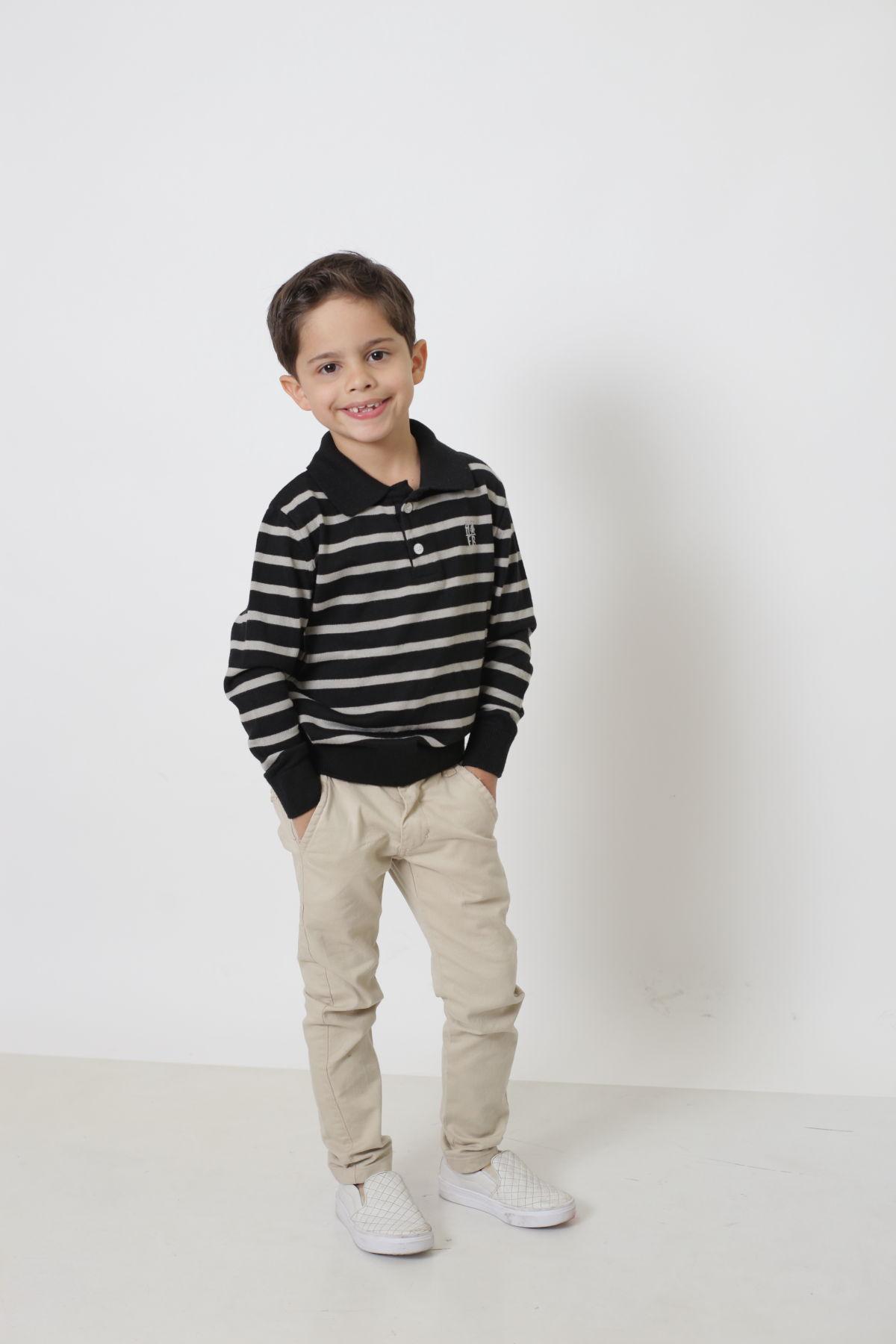 Camisa Polo Suéter Listrado Infantil  - Heitor Fashion Brazil