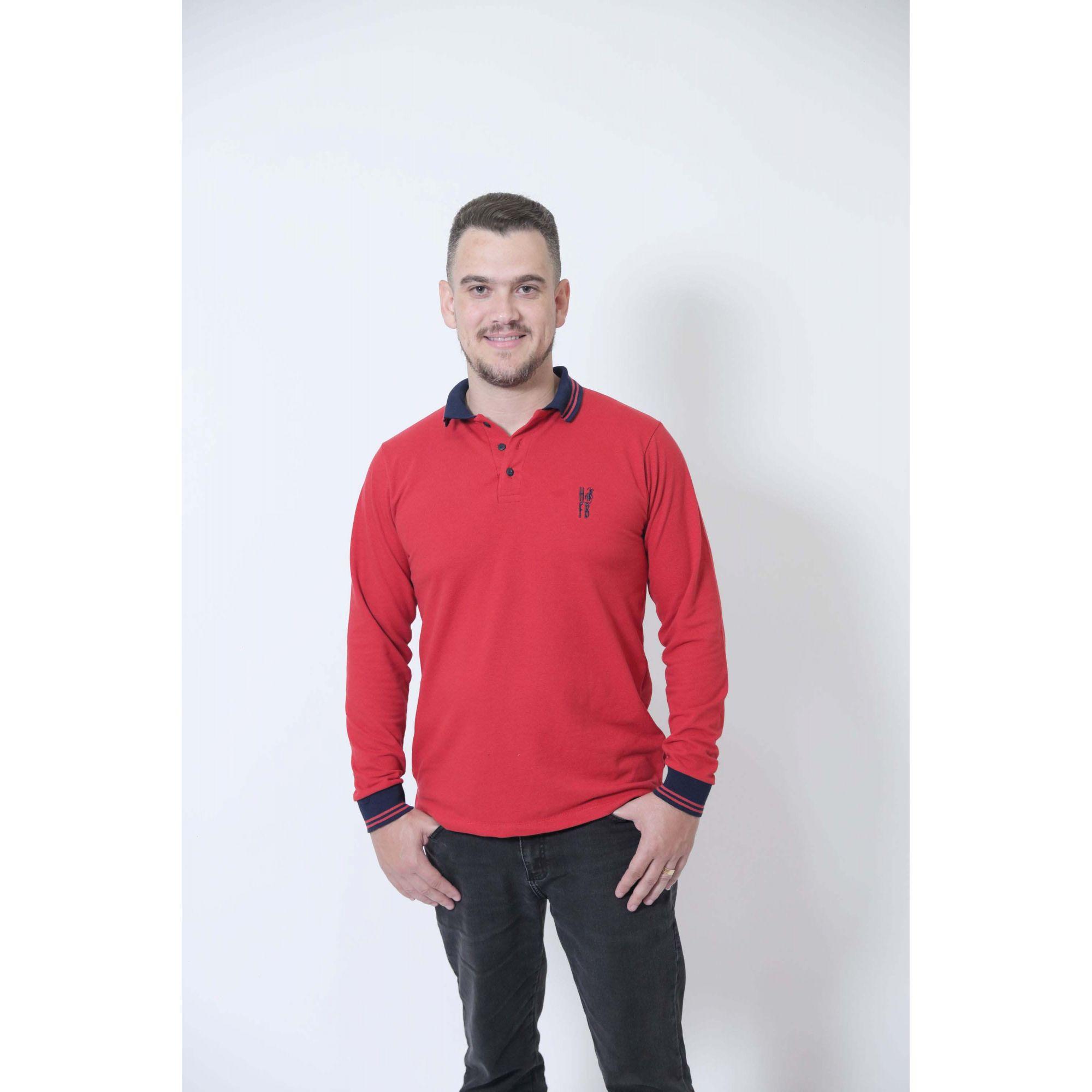 Camisa Polo Vermelho Manga Longa  - Heitor Fashion Brazil