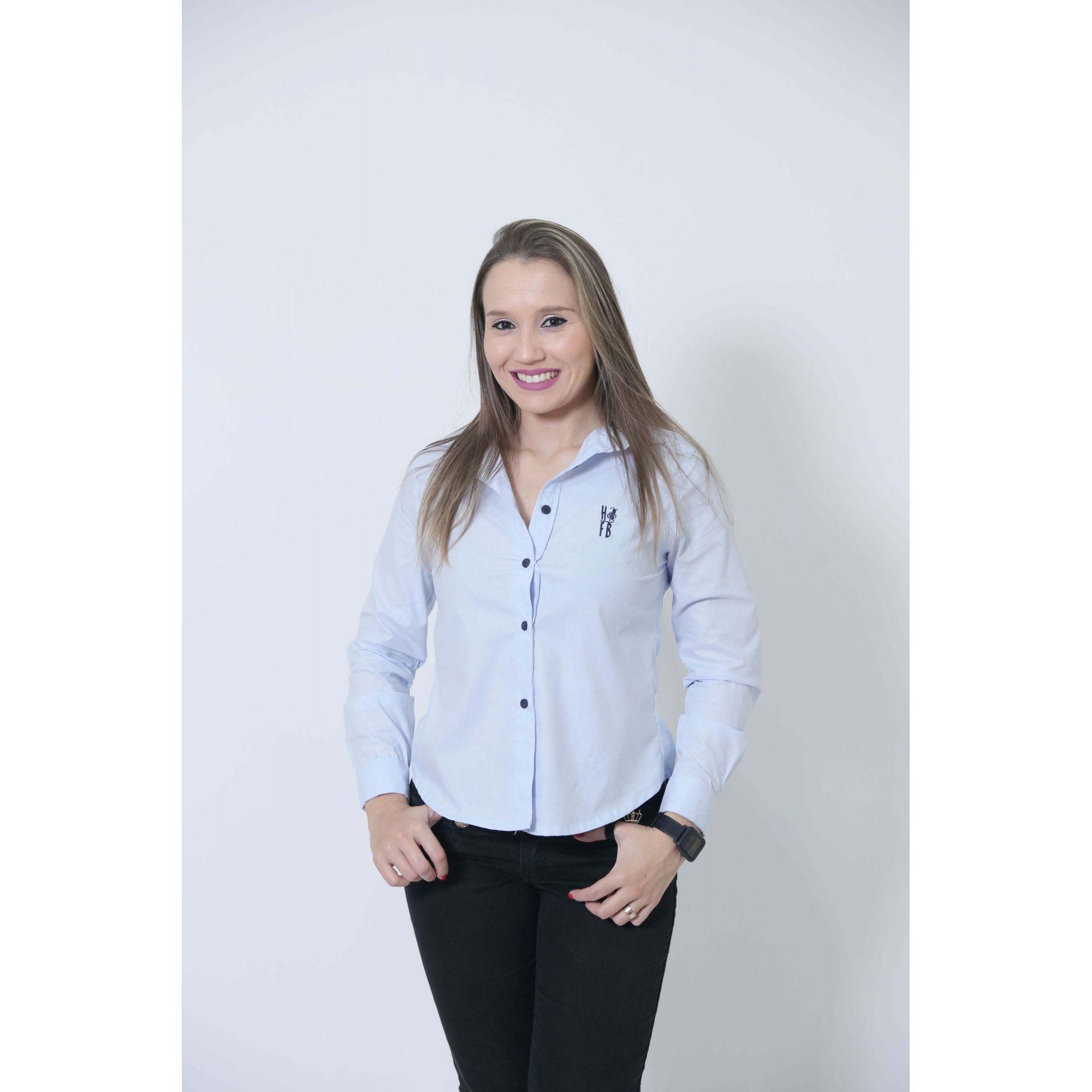 Camisa Social Azul Claro Bebê Feminina  - Heitor Fashion Brazil