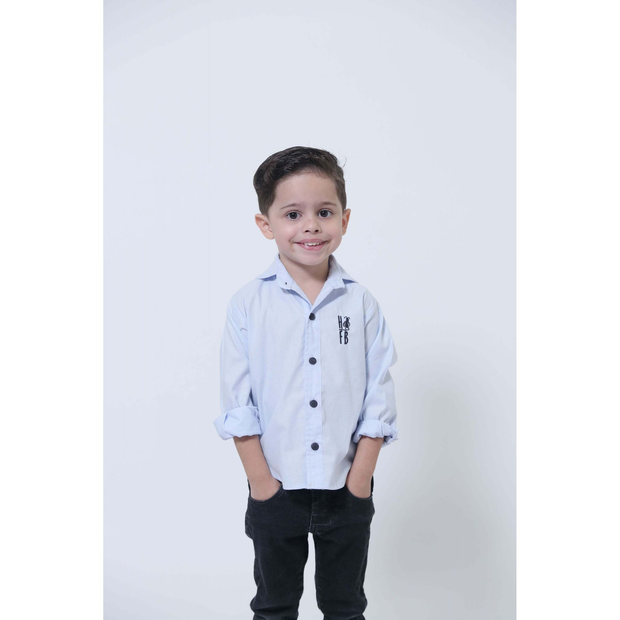Camisa Social Azul Claro Bebê Infantil