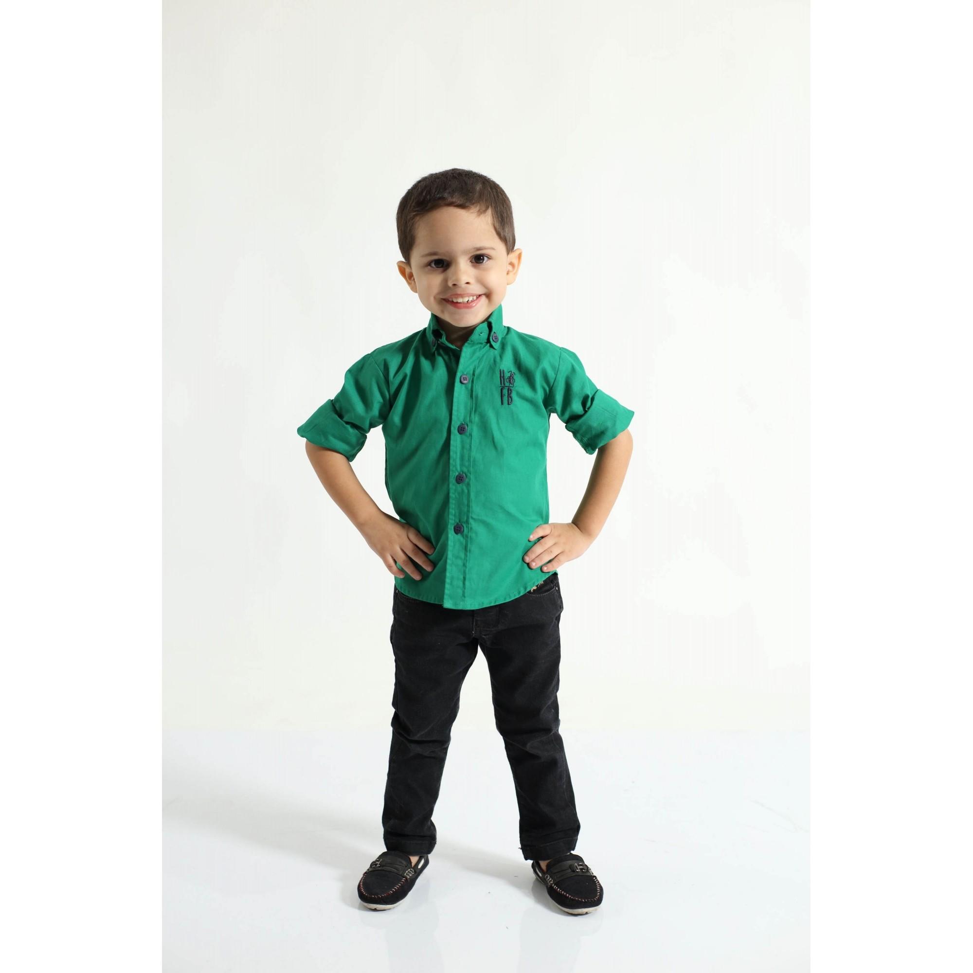 Camisa Social Green Day Verde Infantil