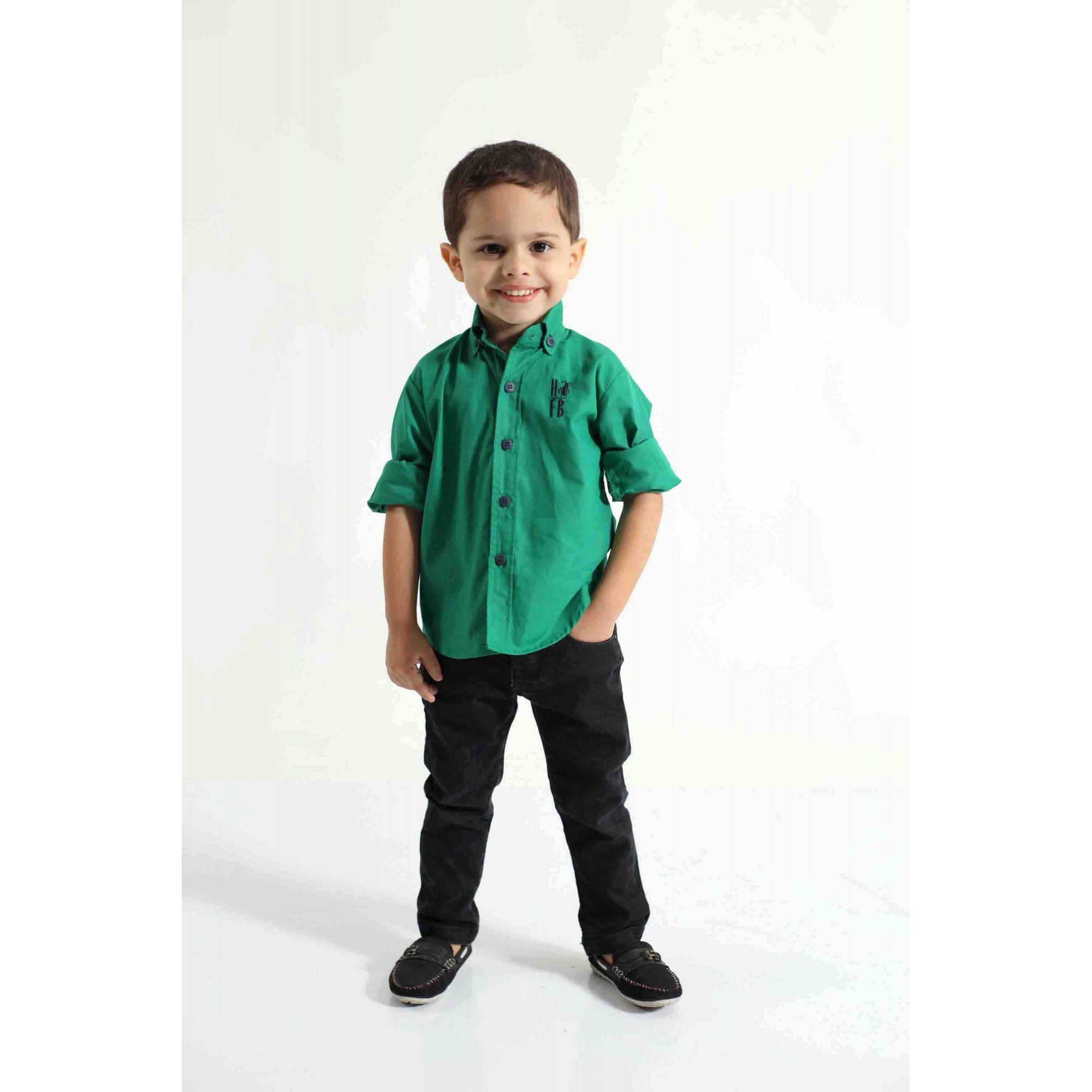 Camisa Social Green Day Verde Infantil  - Heitor Fashion Brazil