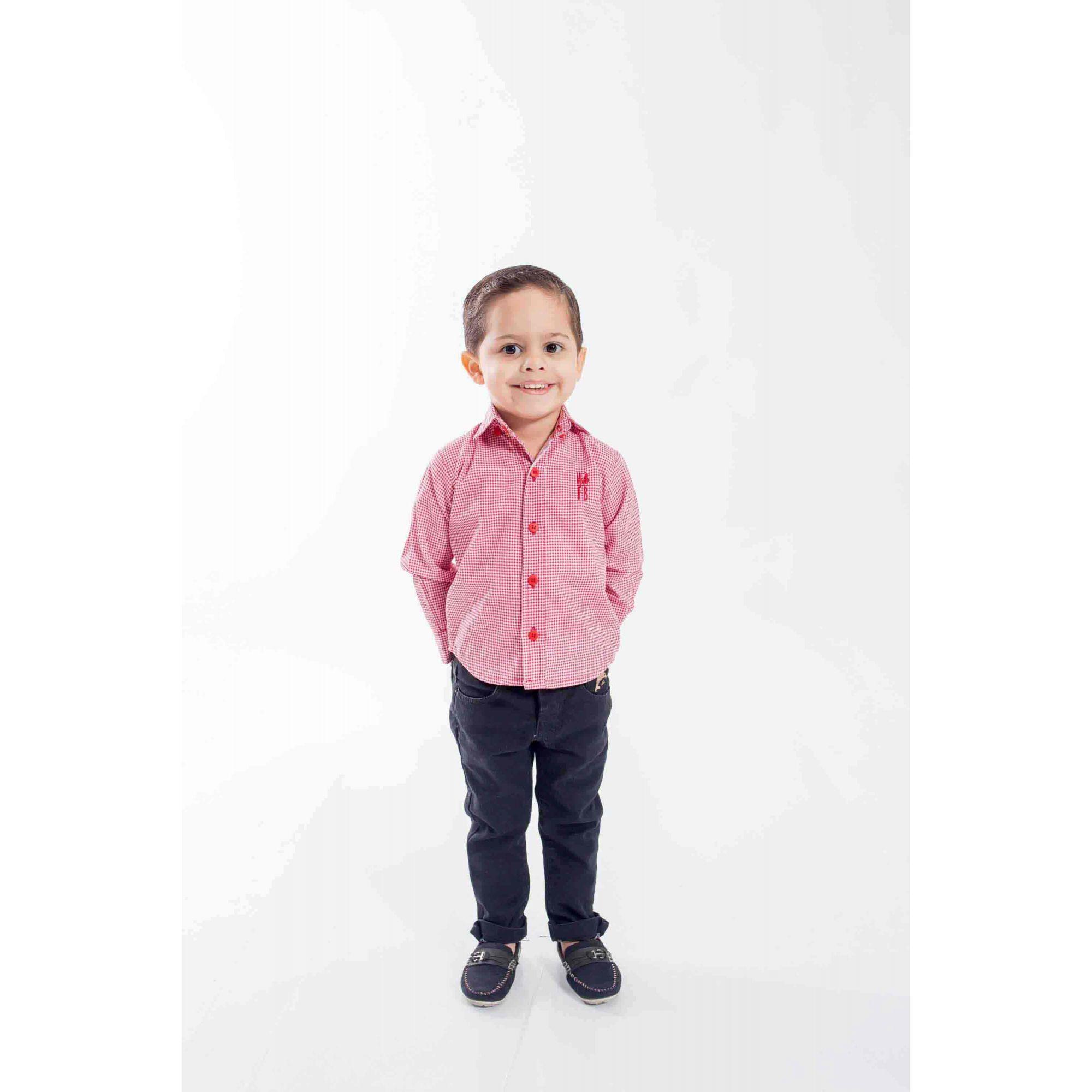Camisa Social Jackie Chan - Xadrez Vermelha Infantil