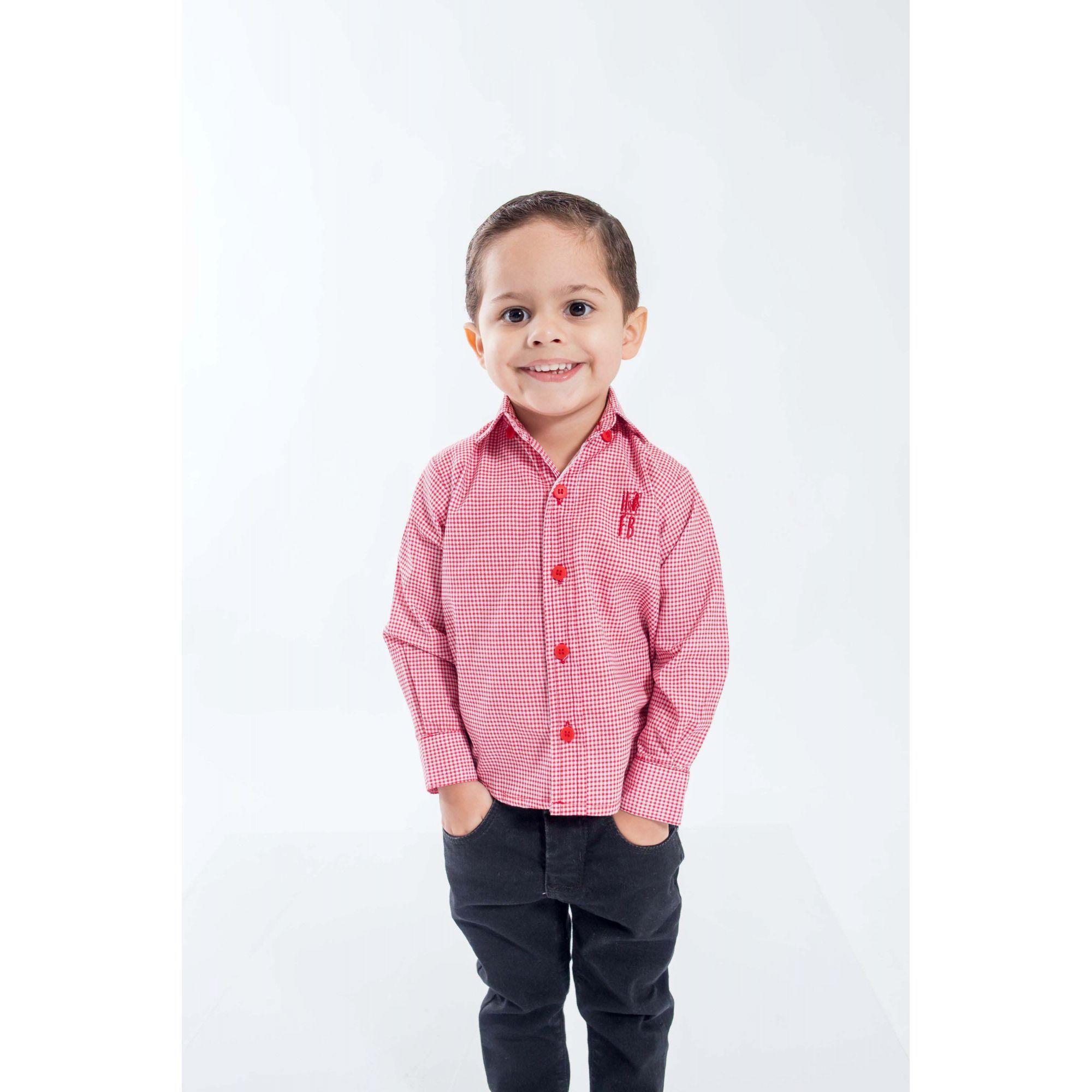 Camisa Social Jackie Chan Vermelha Infantil  - Heitor Fashion Brazil