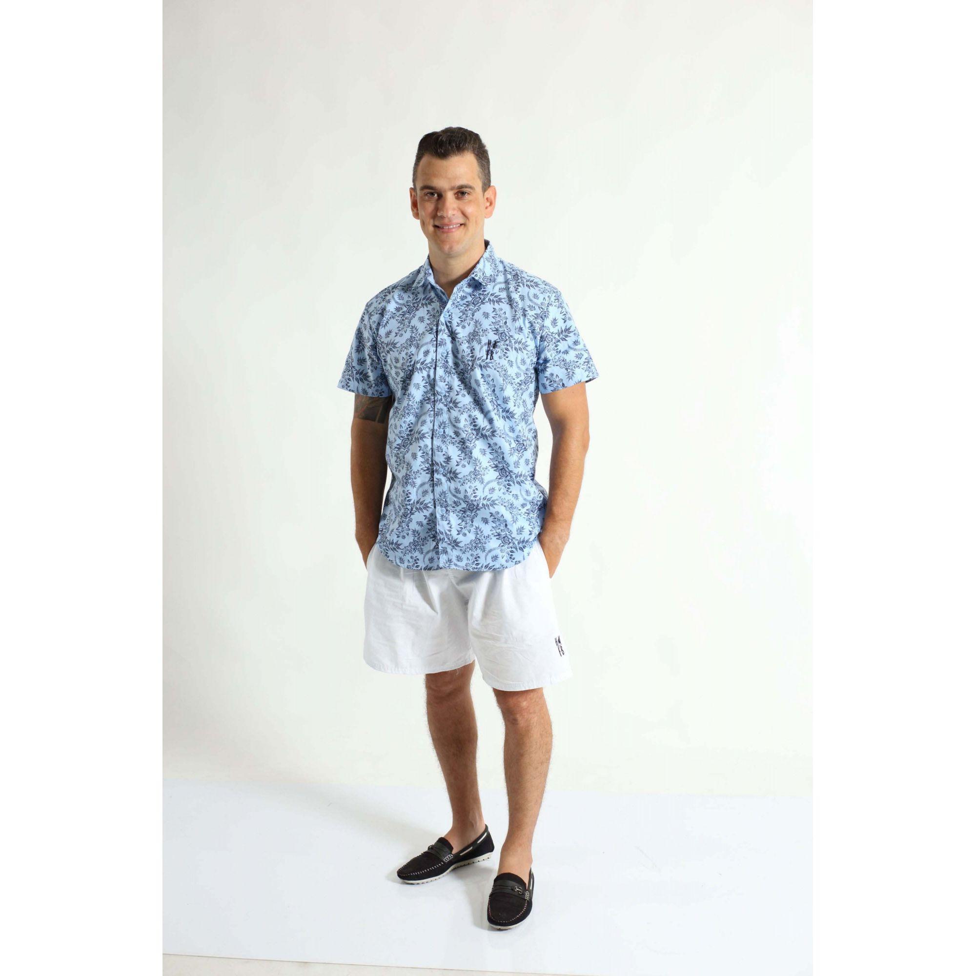 Camisa Social Manga Curta Azul Floral Adulta