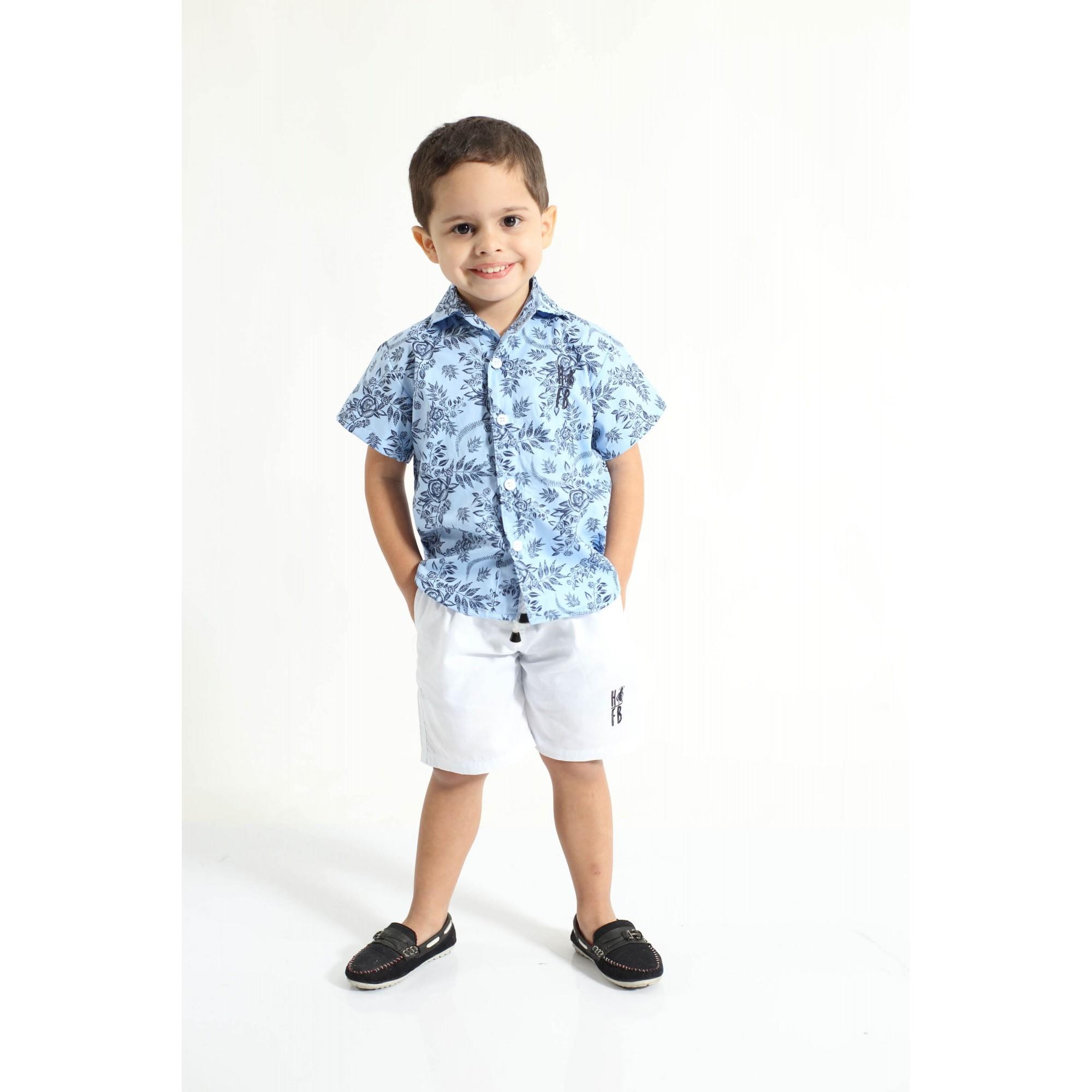 Camisa Social Manga Curta Azul Floral Infantil  - Heitor Fashion Brazil