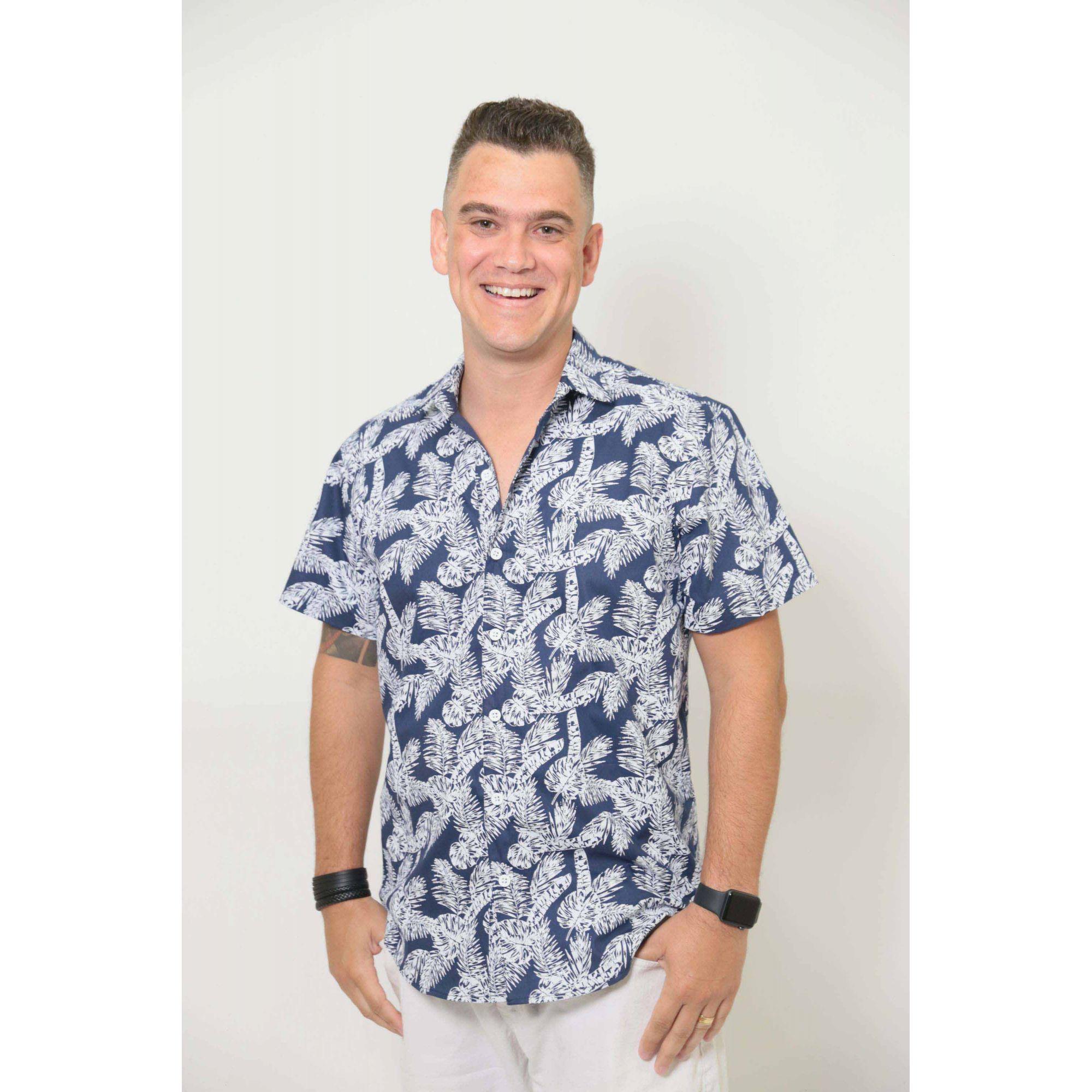 Camisa Social Manga Curta Azul Floresta  - Heitor Fashion Brazil