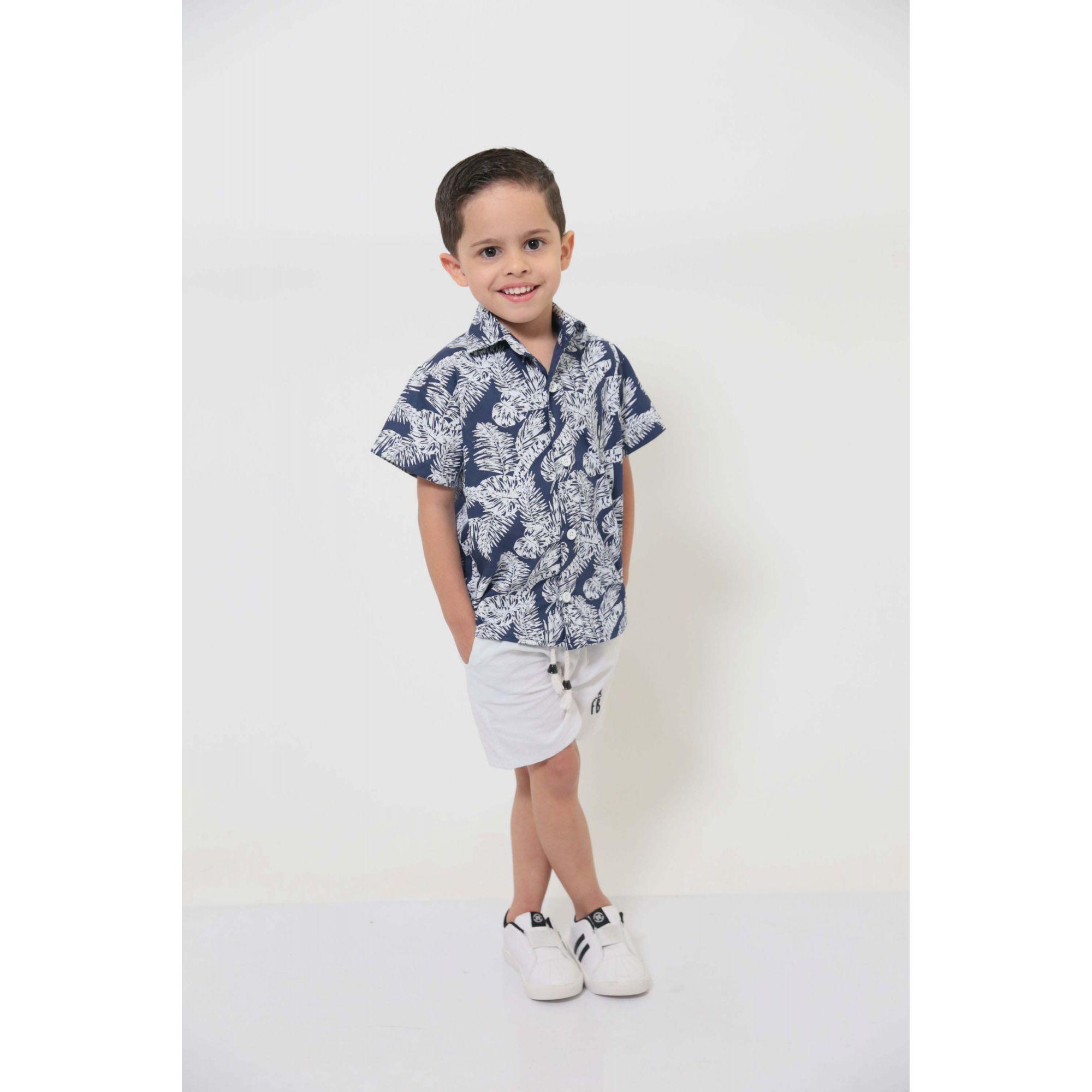 Camisa Social Manga Curta Azul Floresta Infantil