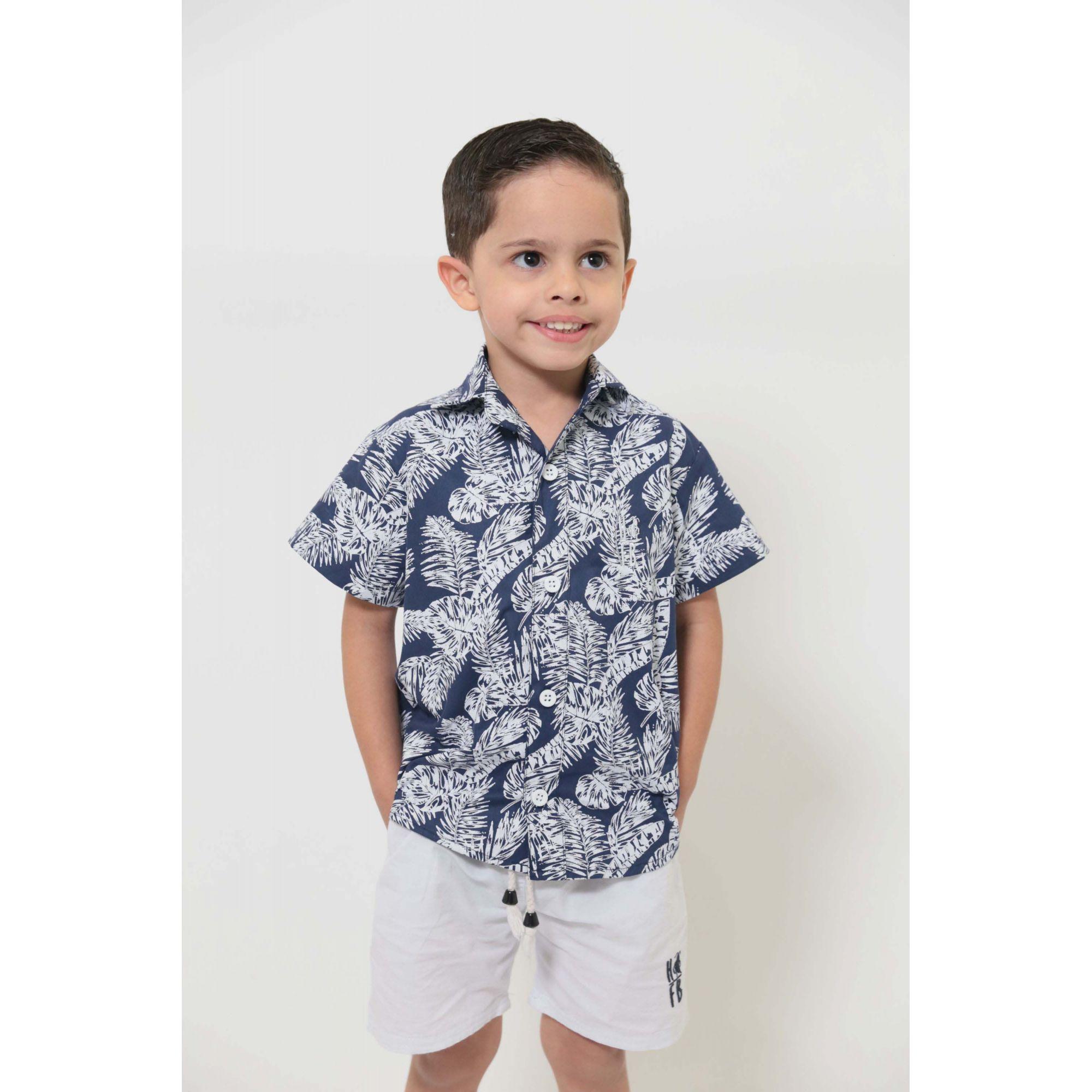 Camisa Social Manga Curta Azul Floresta Infantil  - Heitor Fashion Brazil