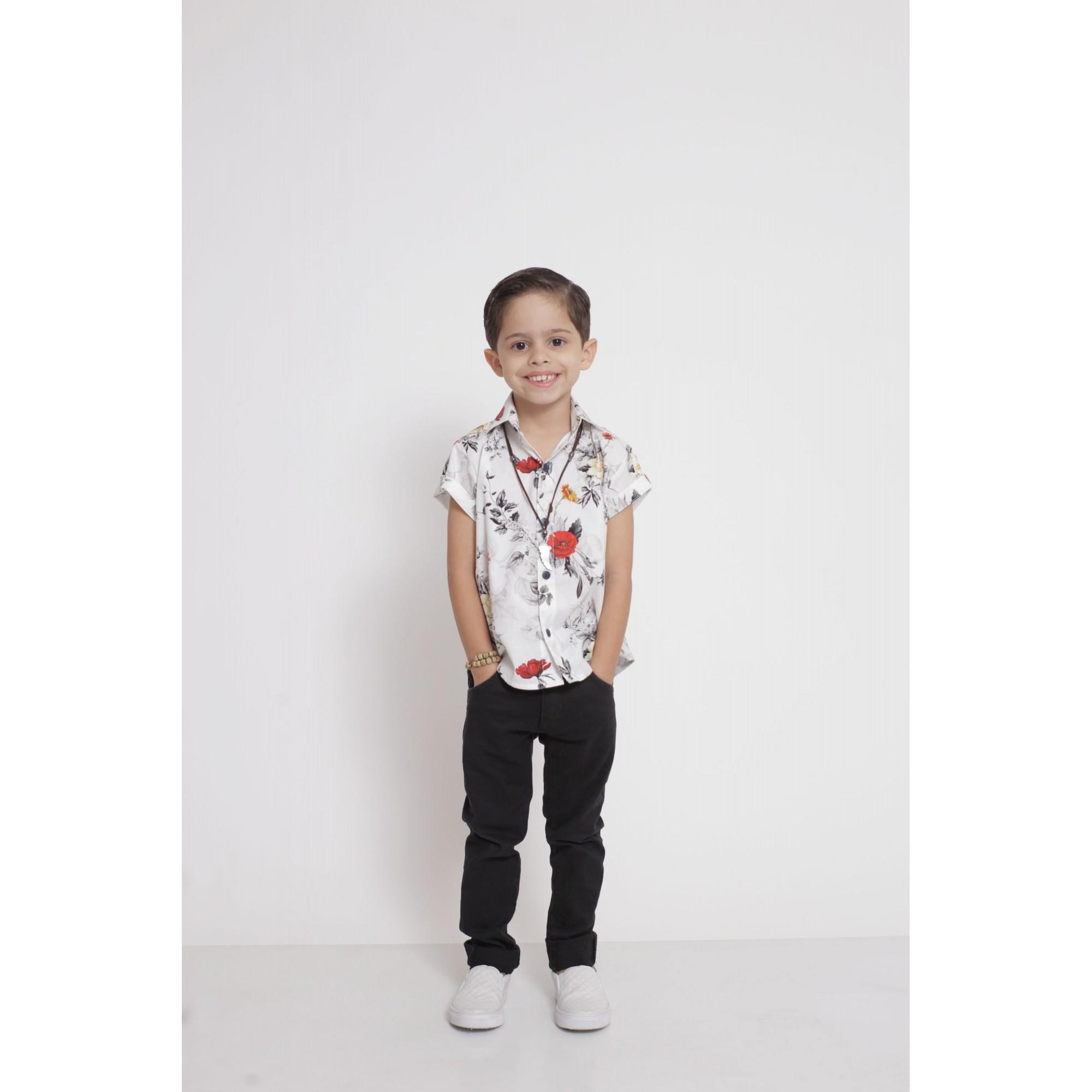 Camisa Social Manga Curta Branca Floral Infantil  - Heitor Fashion Brazil