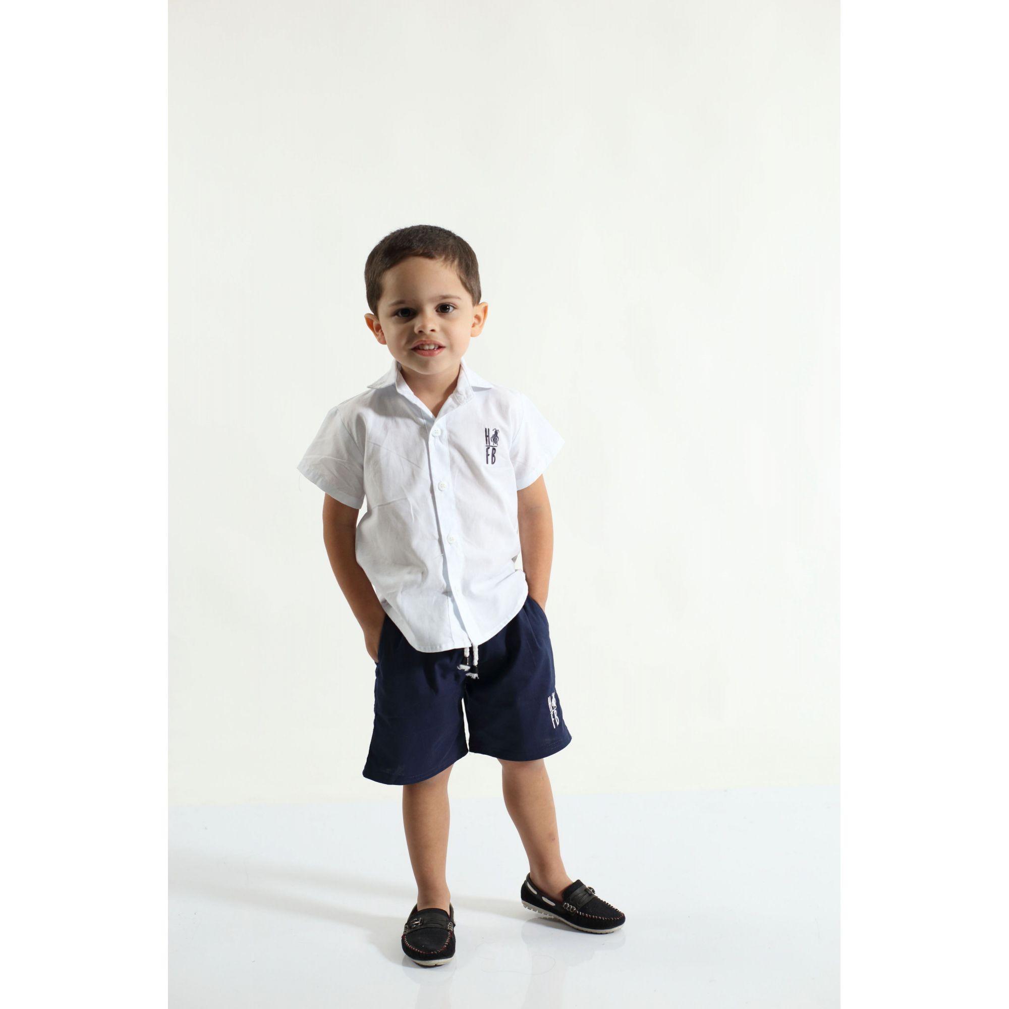 Camisa Social Manga Curta Branca Infantil  - Heitor Fashion Brazil