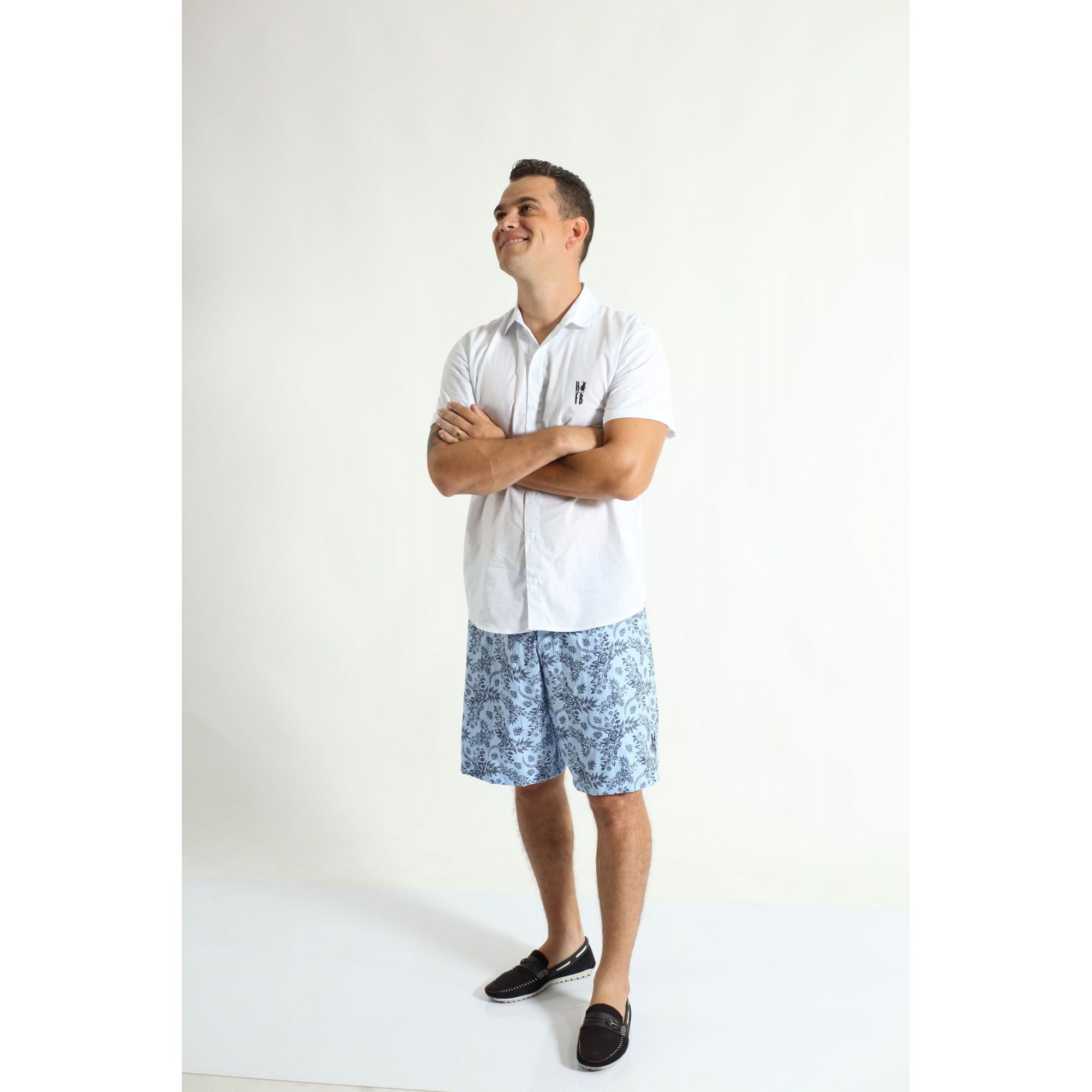 Camisa Social Manga Curta Branca Adulta  - Heitor Fashion Brazil