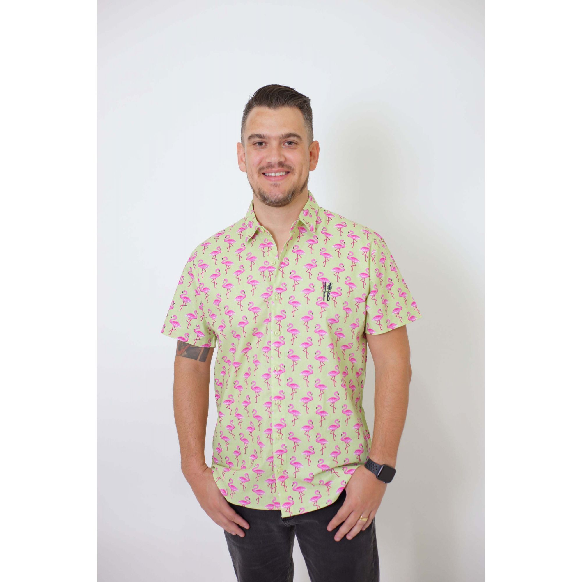 Camisa Social Manga Curta Flamingo Adulta  - Heitor Fashion Brazil