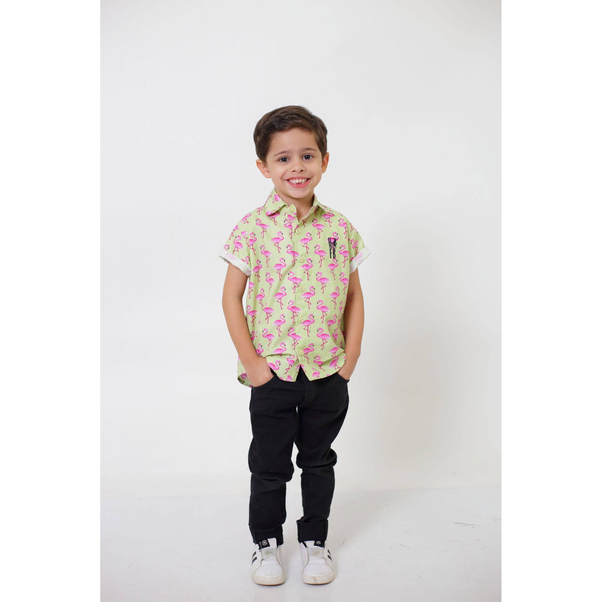 Camisa Social Manga Curta Flamingo Infantil