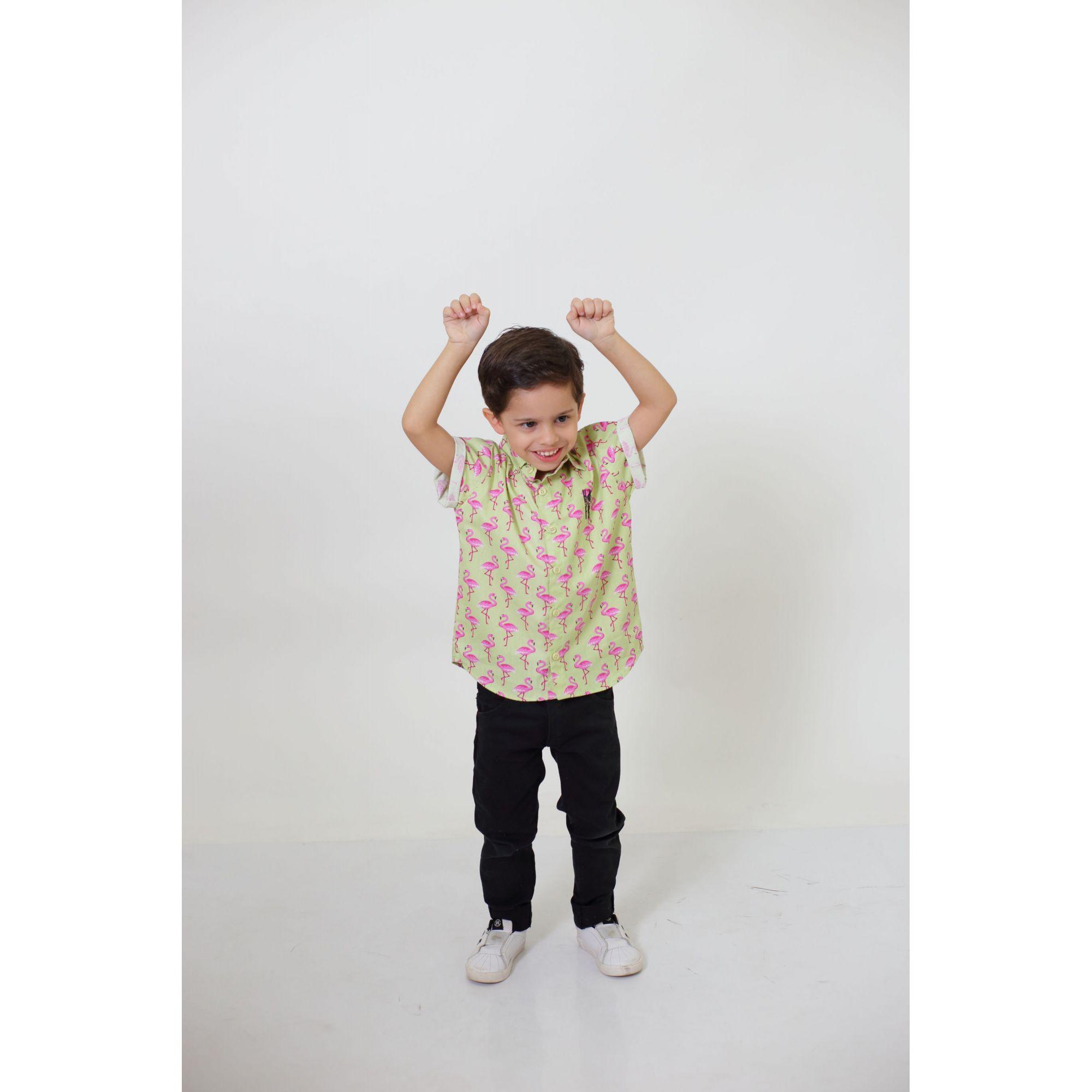 Camisa Social Manga Curta Flamingo Infantil  - Heitor Fashion Brazil