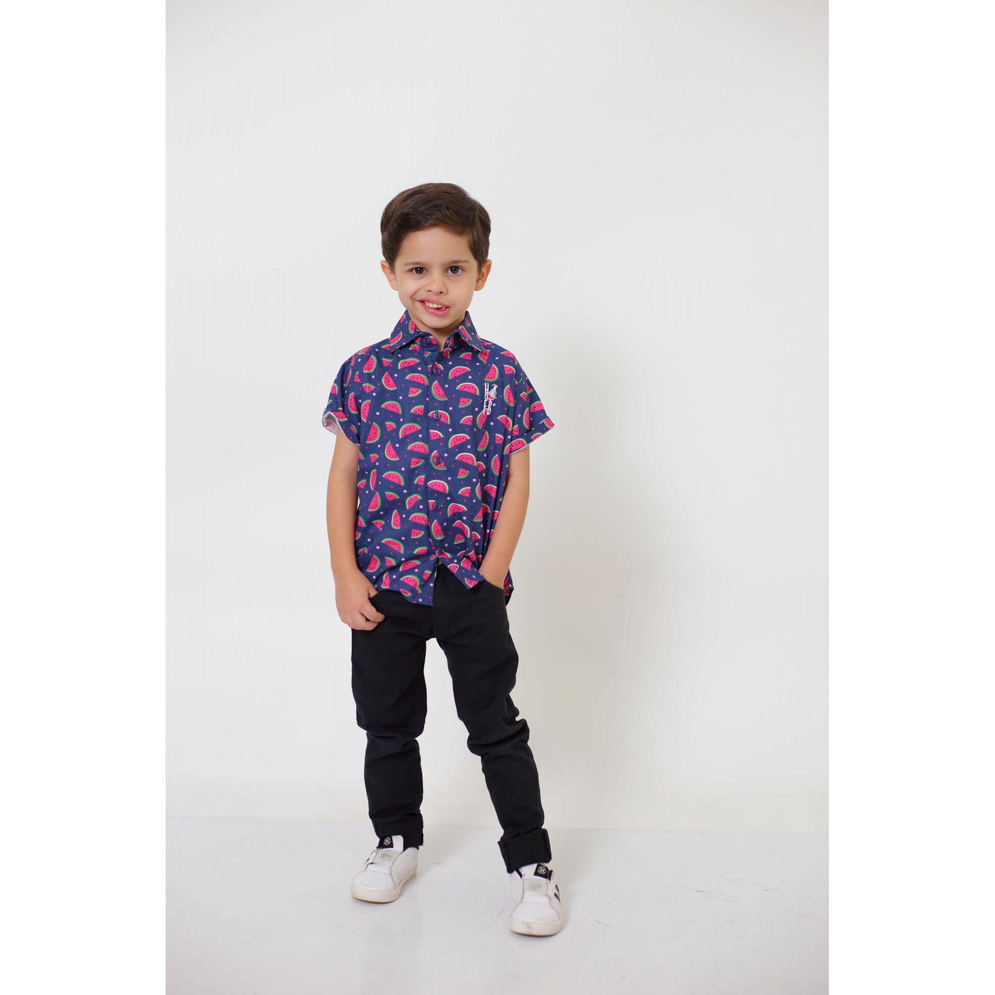 Camisa Social Manga Curta Melancia Infantil  - Heitor Fashion Brazil