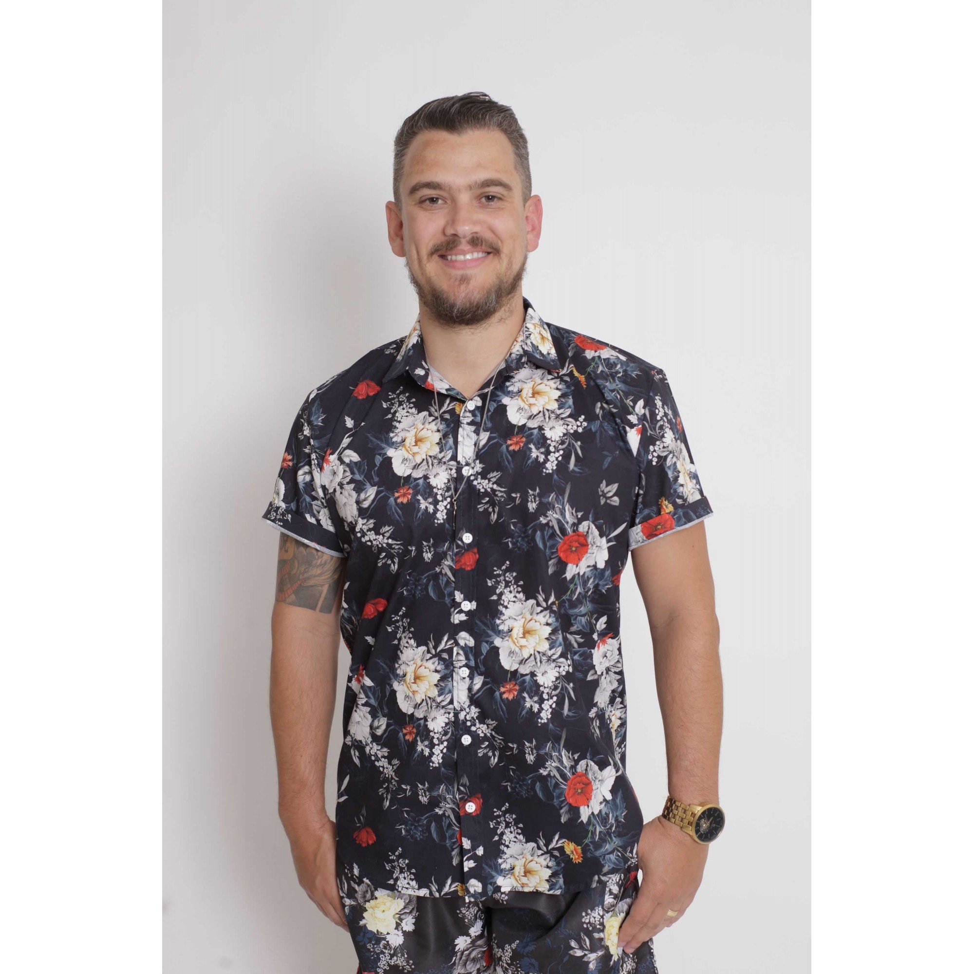 Camisa Social Manga Curta Preta Floral  - Heitor Fashion Brazil