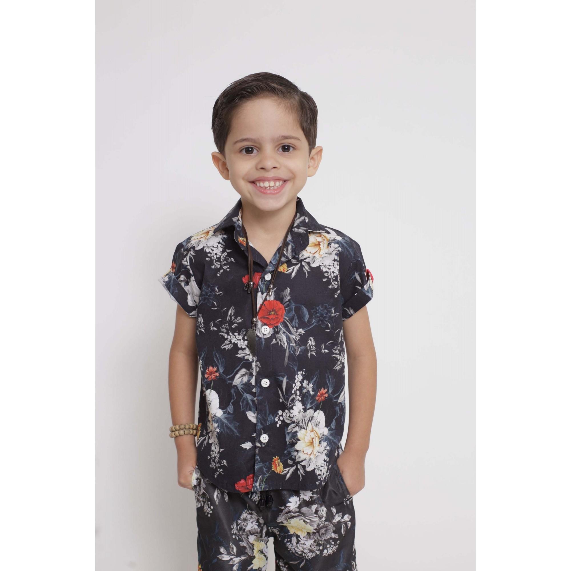 Camisa Social Manga Curta Preta Floral Infantil  - Heitor Fashion Brazil