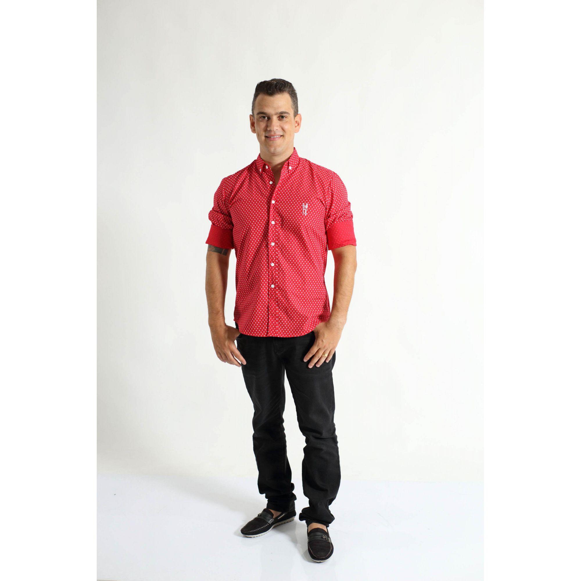 Camisa Social Merry Christimas Vermelha Adulta  - Heitor Fashion Brazil