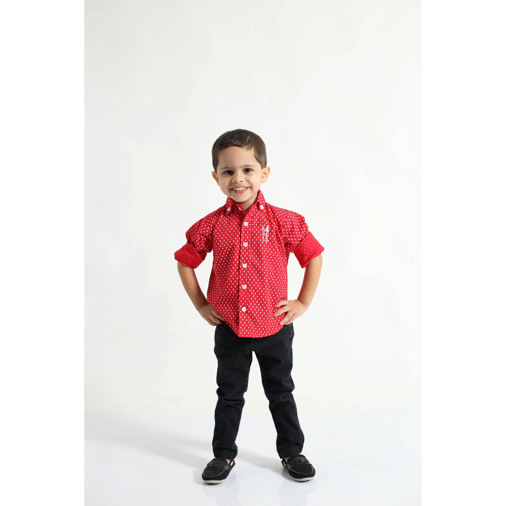 Camisa Social Merry Christimas Vermelha Infantil  - Heitor Fashion Brazil