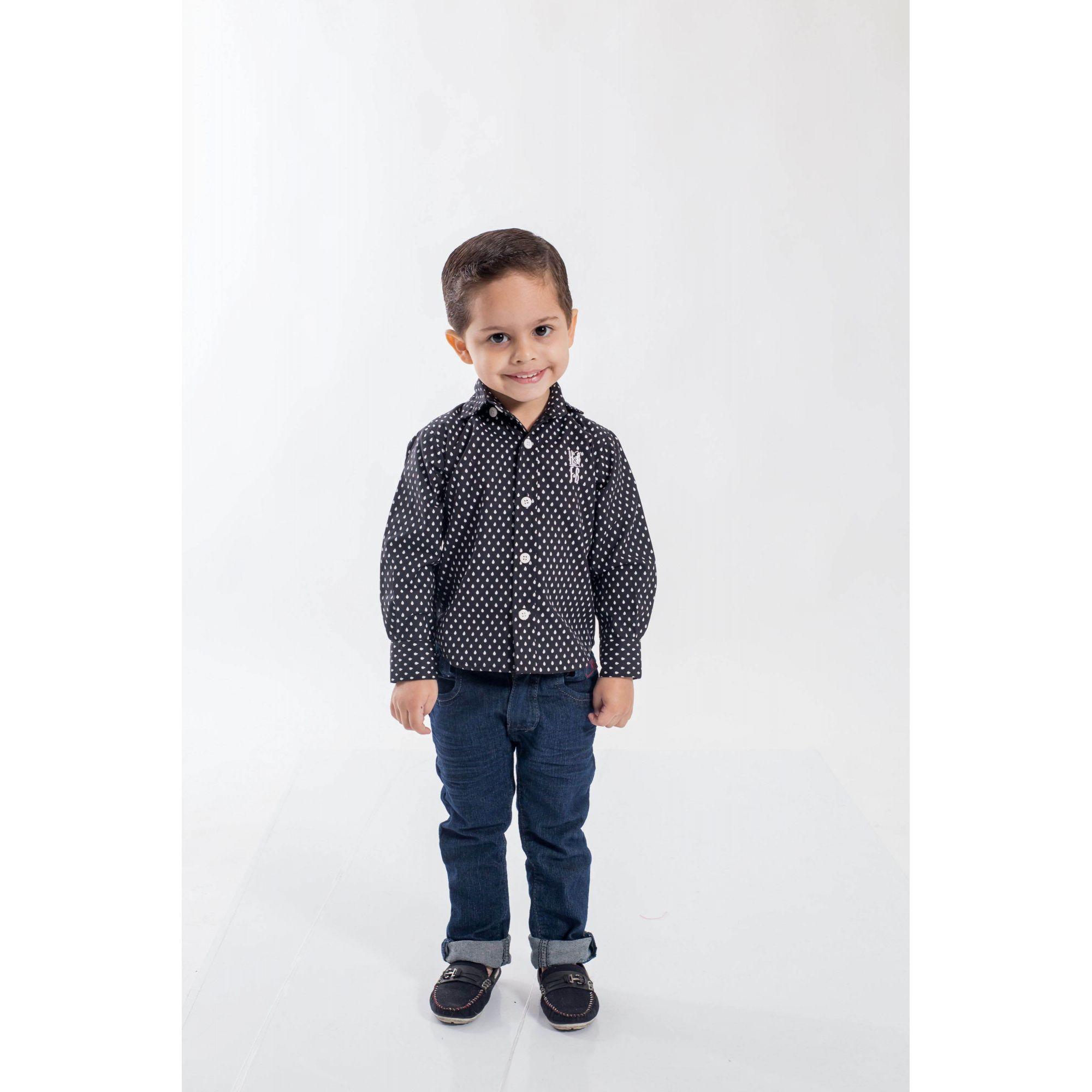 Camisa Social Preta Jet Li Infantil  - Heitor Fashion Brazil