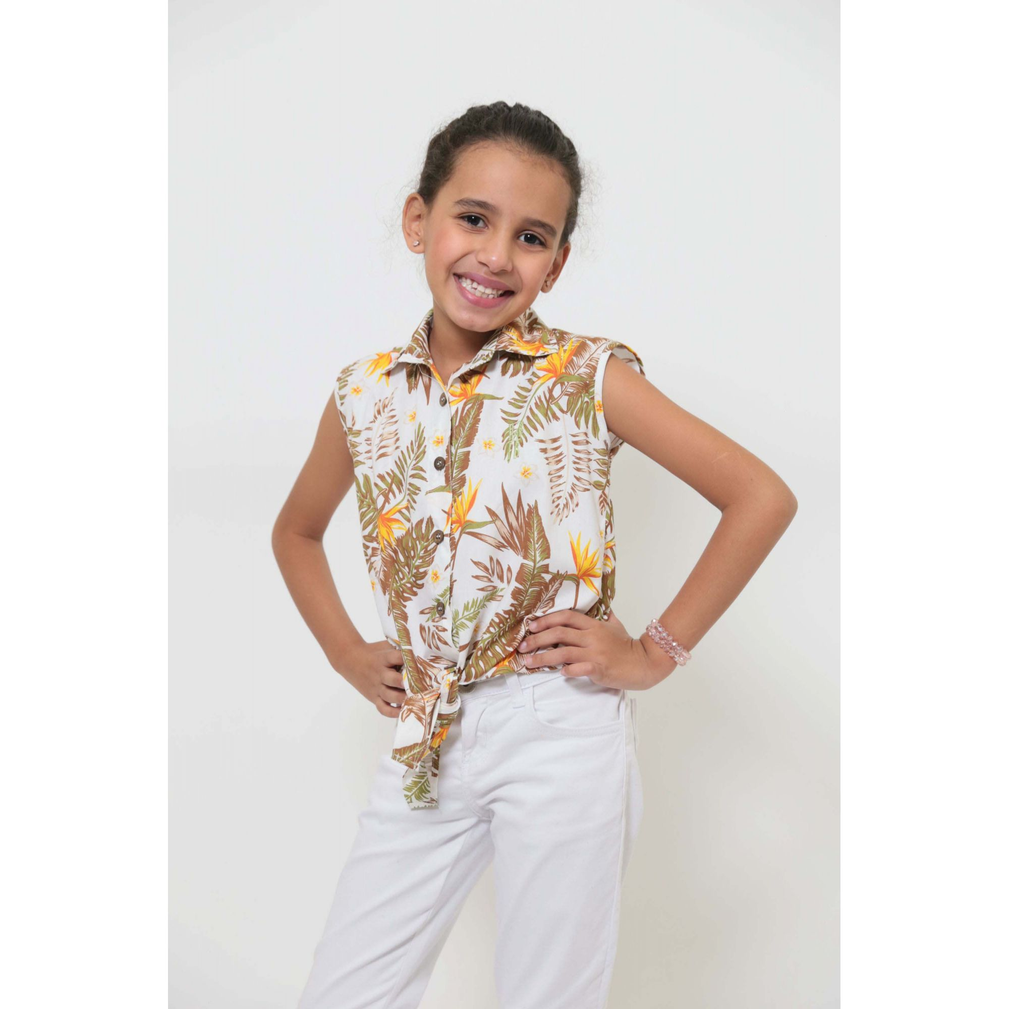 Camisa Social Sem Manga Amazonas Feminina Infantil