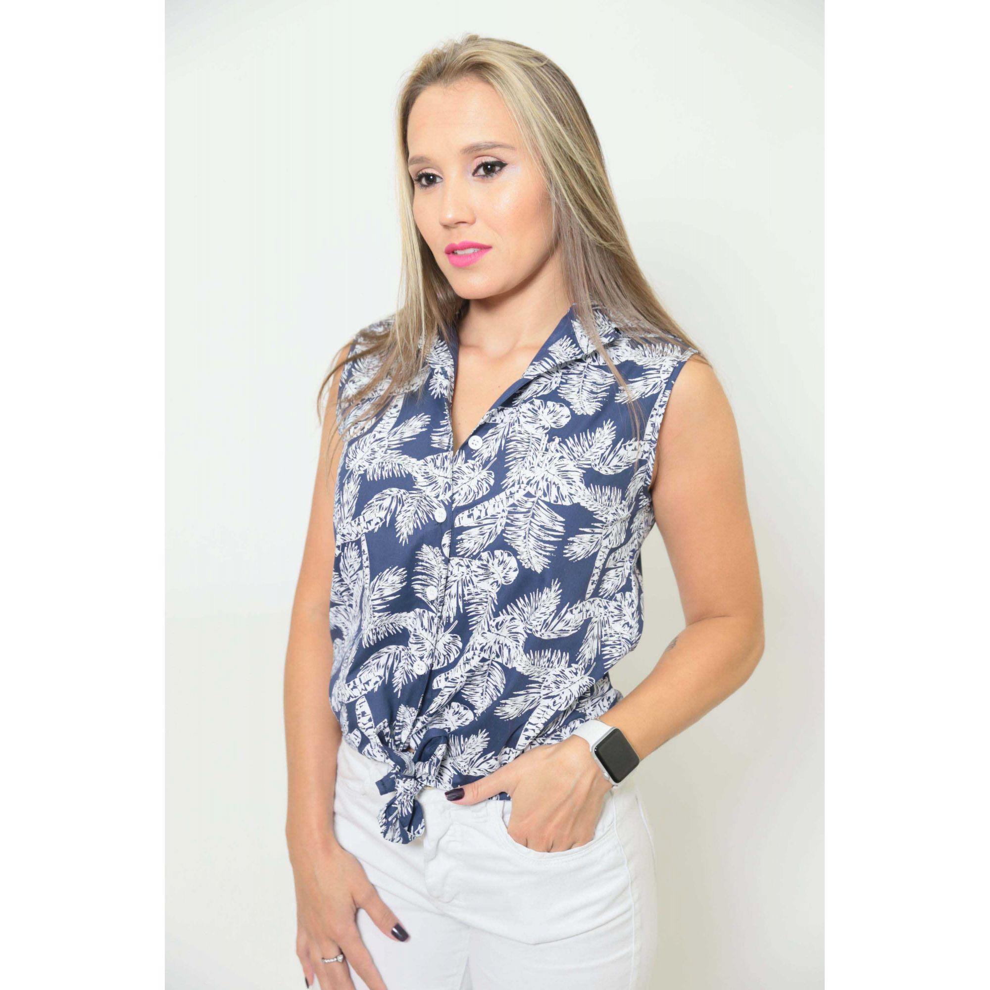 Camisa Social Sem Manga Azul Floresta Feminina Adulta