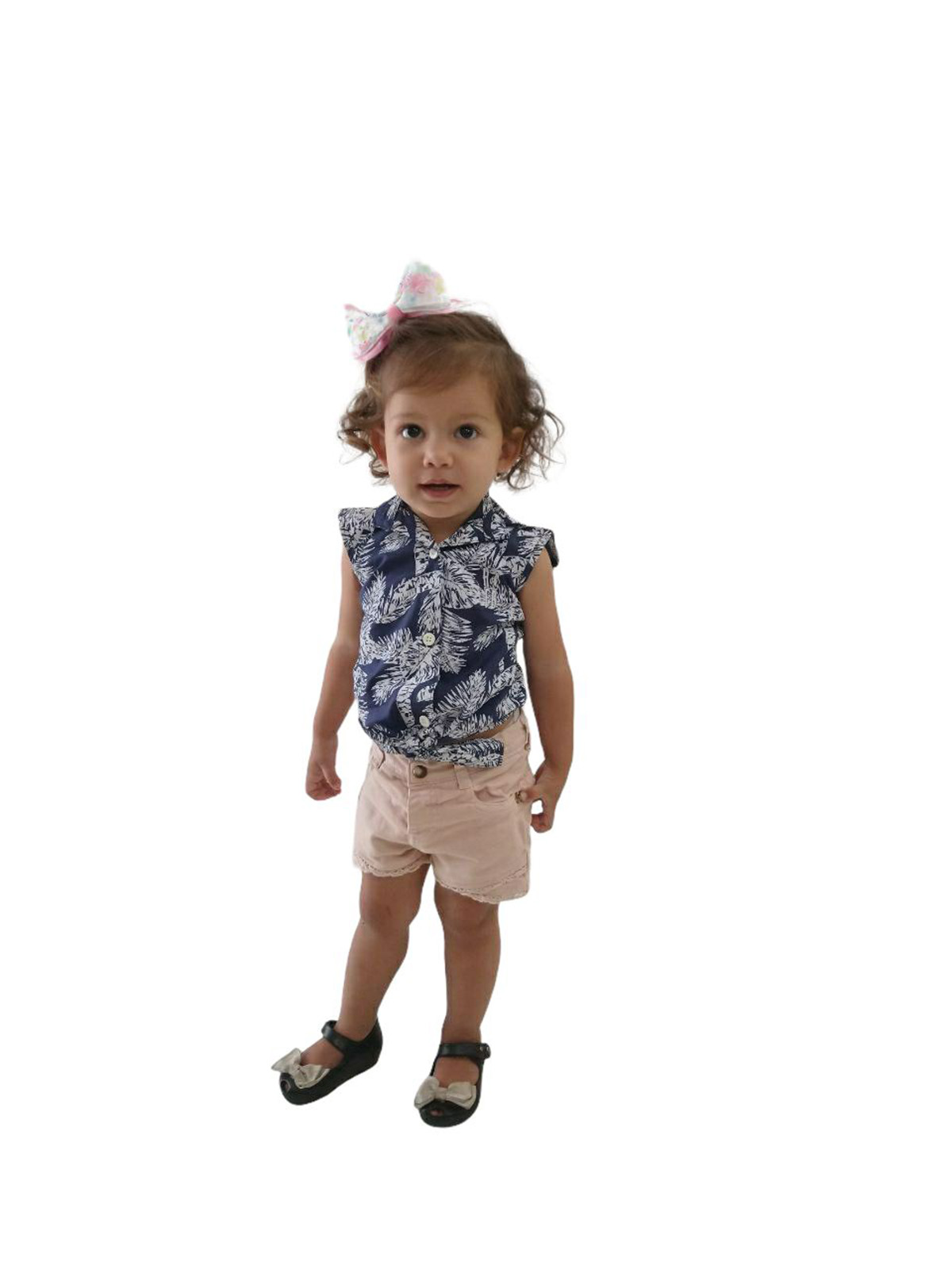 Camisa Social Sem Manga Azul Floresta Feminina Infantil