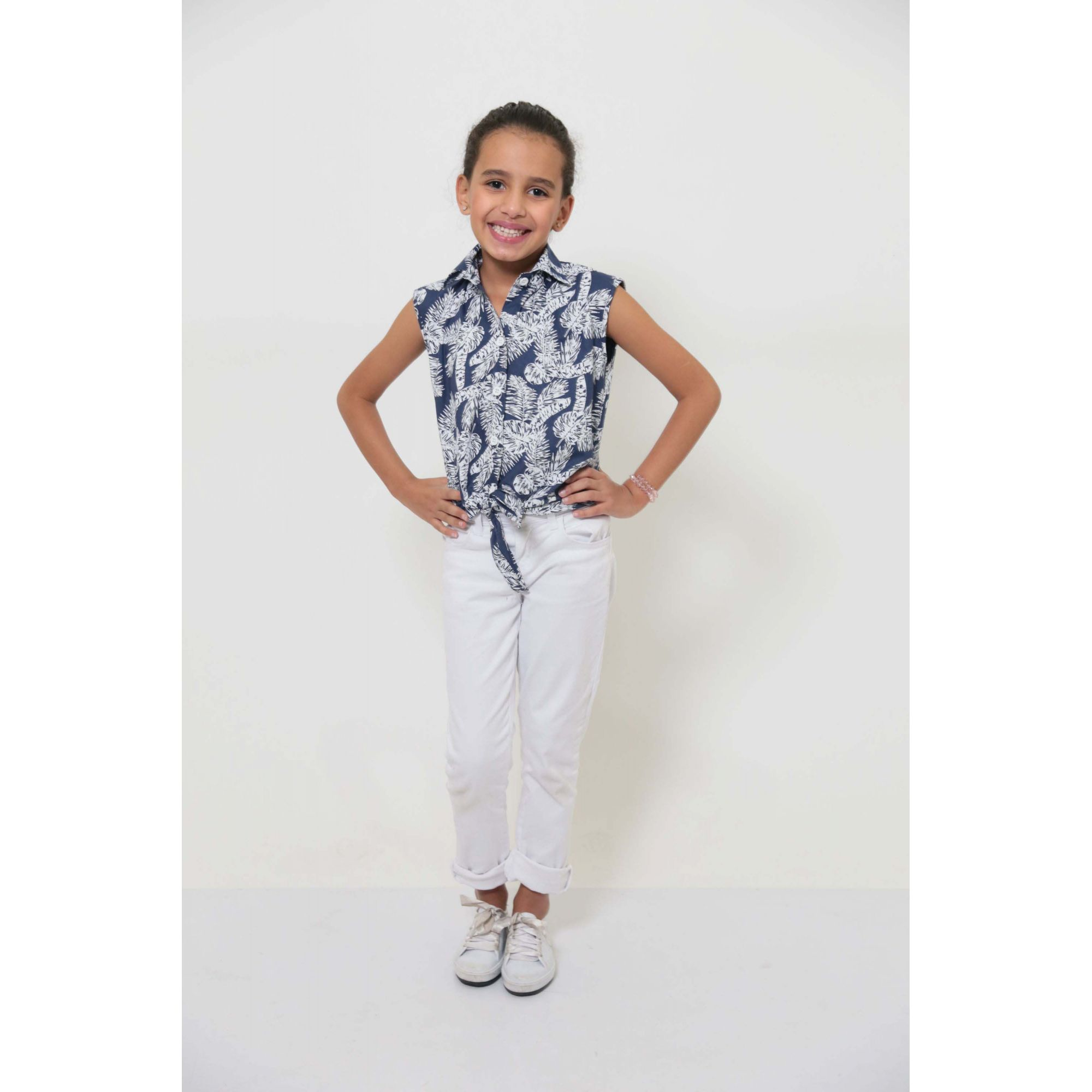 Camisa Social Sem Manga Azul Floresta Feminina Infantil  - Heitor Fashion Brazil