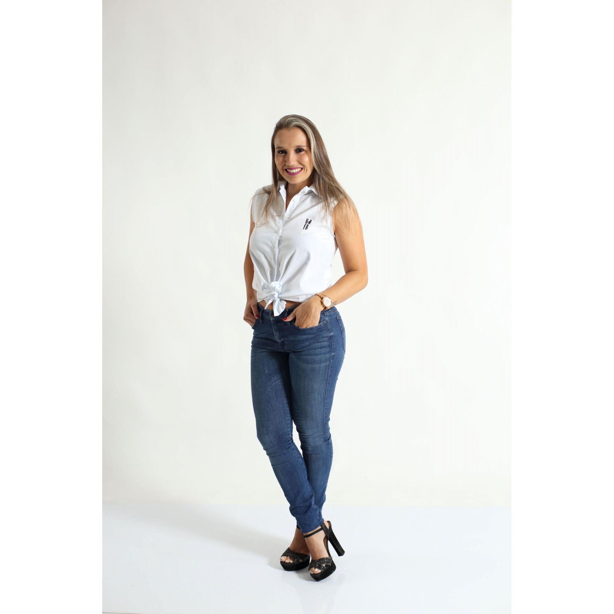 Camisa Social Sem Manga Branca Feminina Adulta