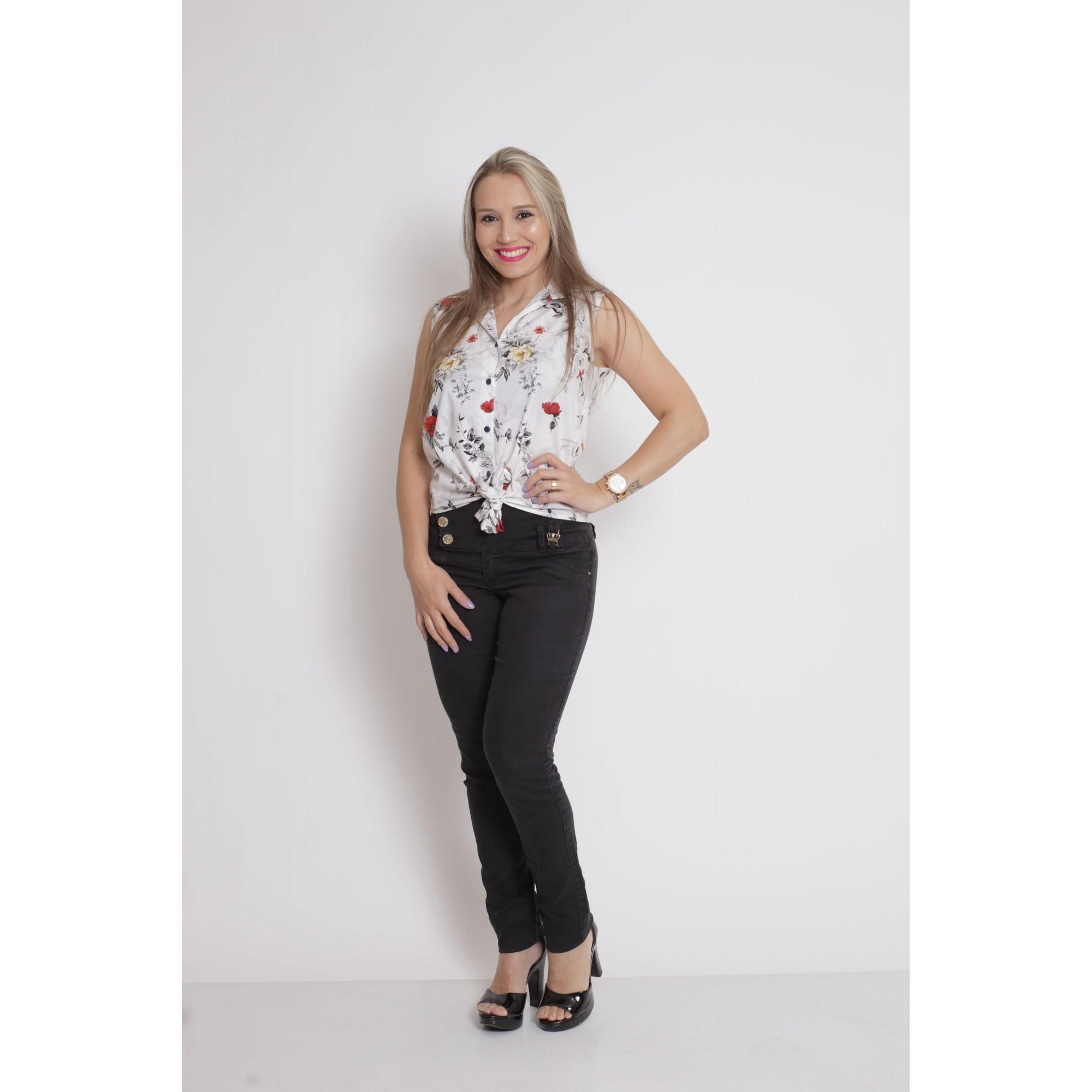 Camisa Social Sem Manga Branca Floral Feminina  - Heitor Fashion Brazil