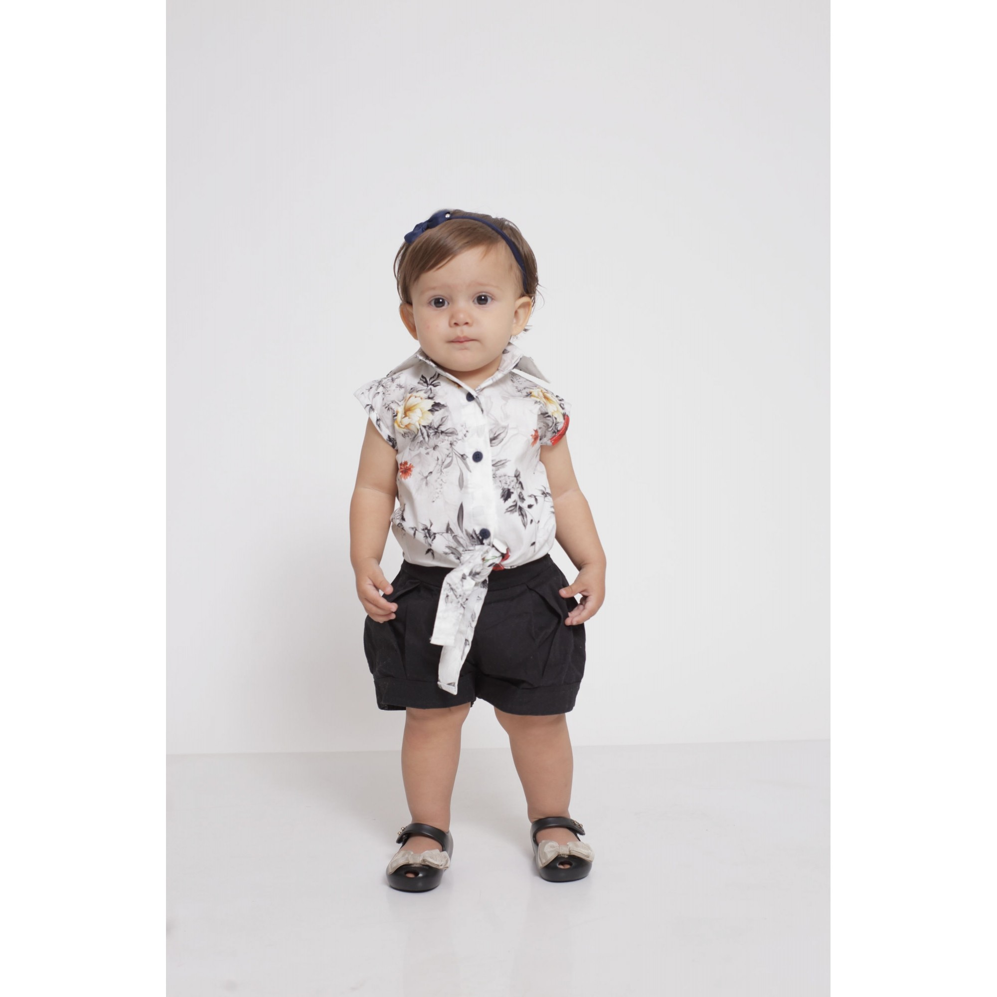 Camisa Social Sem Manga Branca Floral Feminina Infantil