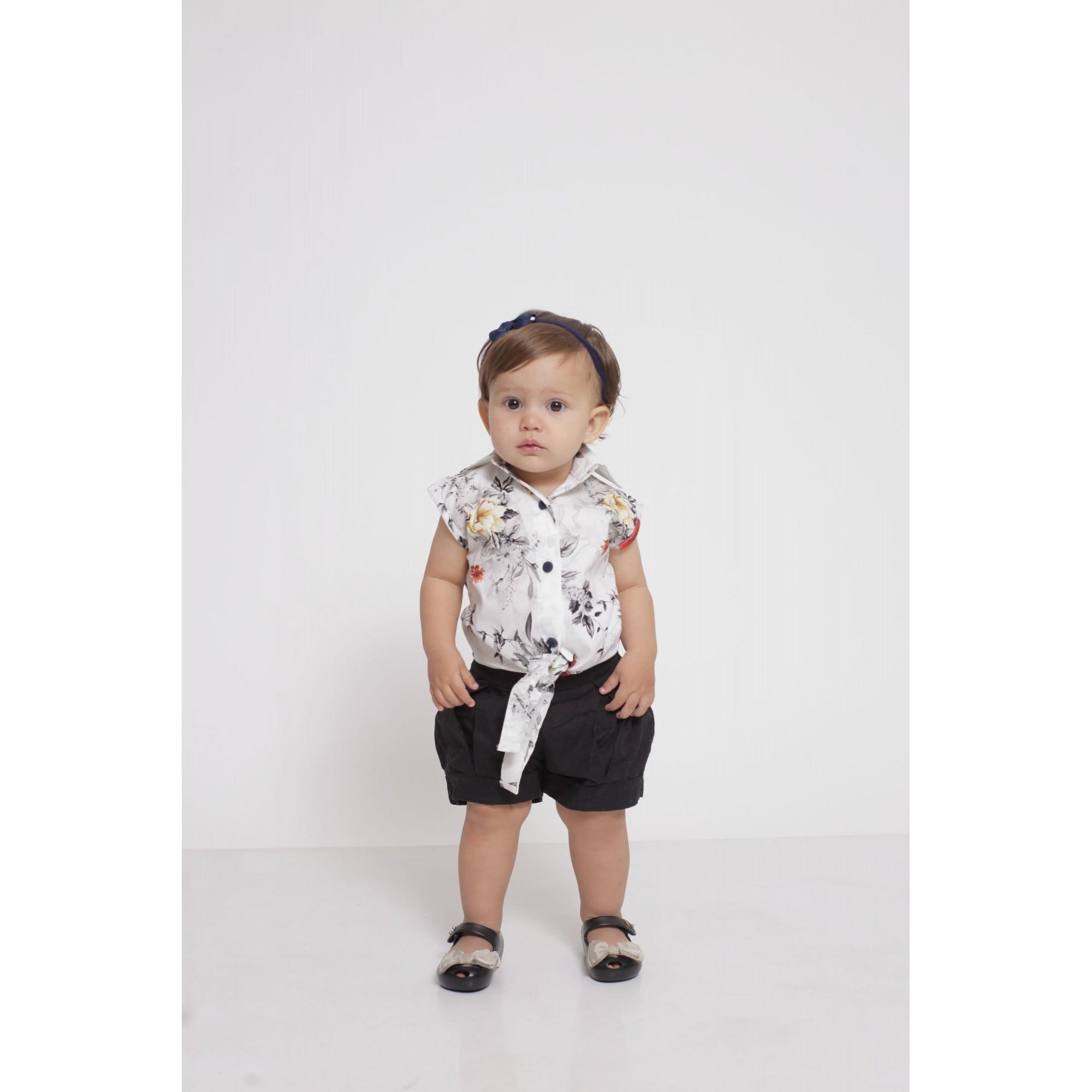 Camisa Social Sem Manga Branca Floral Feminina Infantil  - Heitor Fashion Brazil