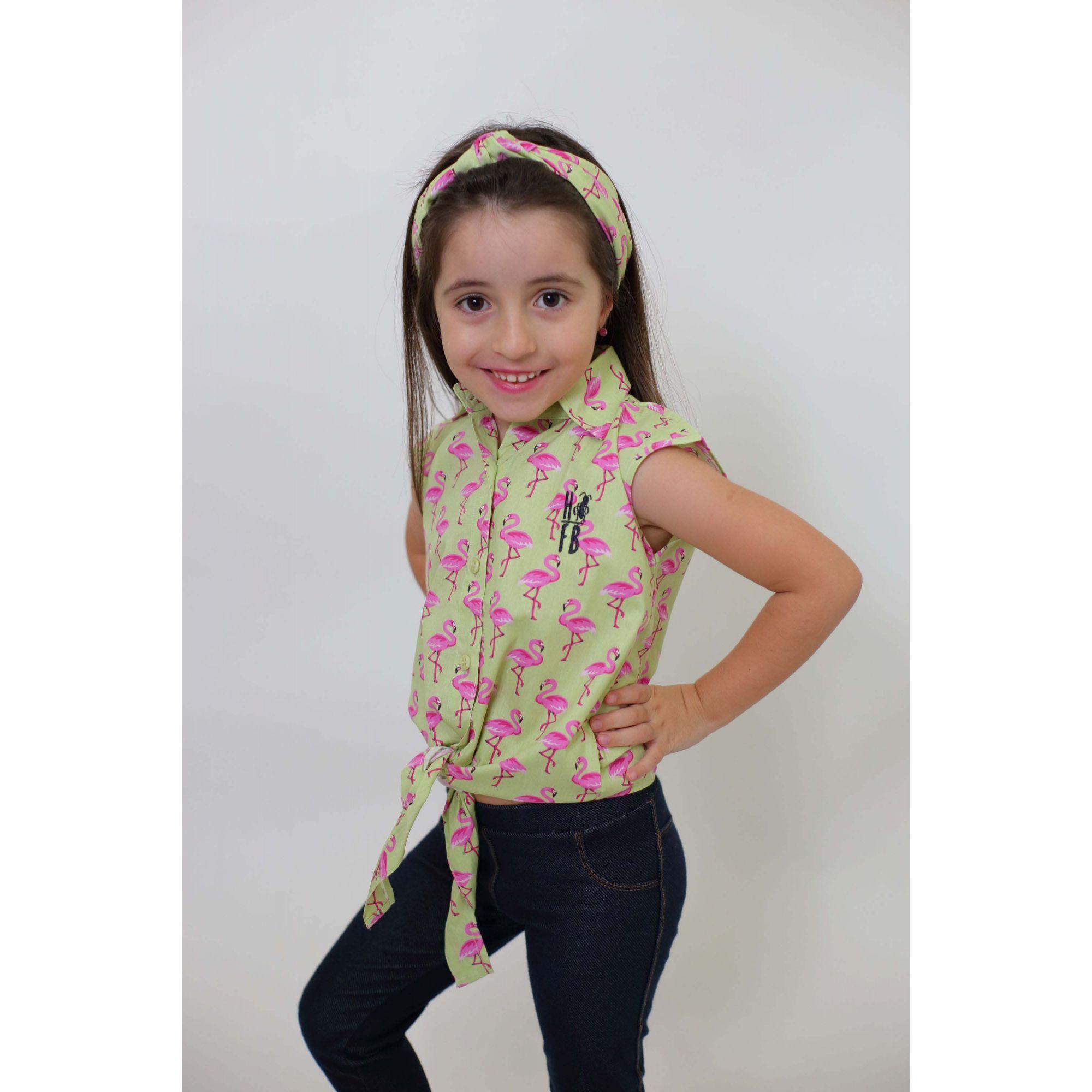 Camisa Social Sem Manga Flamingos Feminina Infantil  - Heitor Fashion Brazil