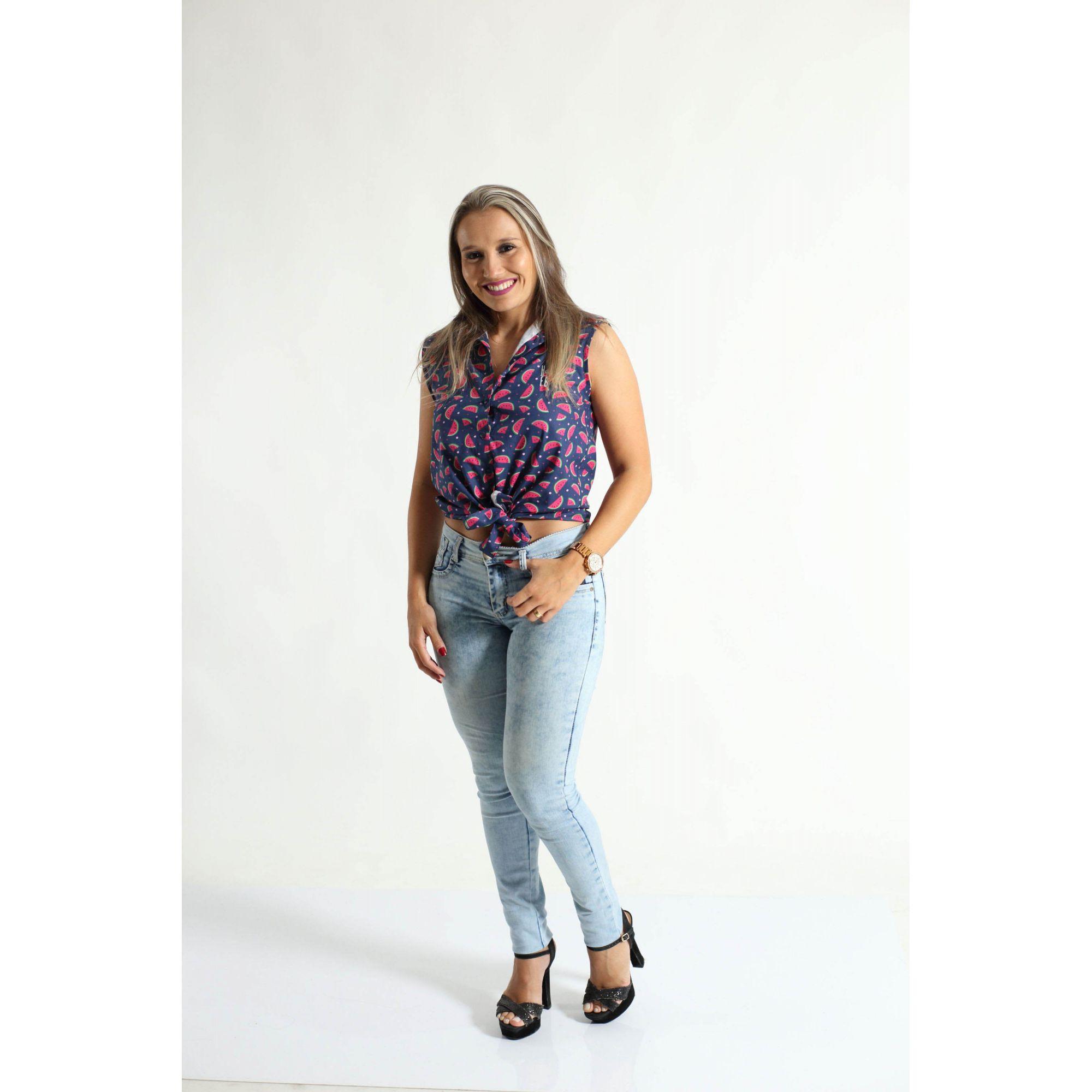 Camisa Social Sem Manga Melancia Feminina Adulta  - Heitor Fashion Brazil