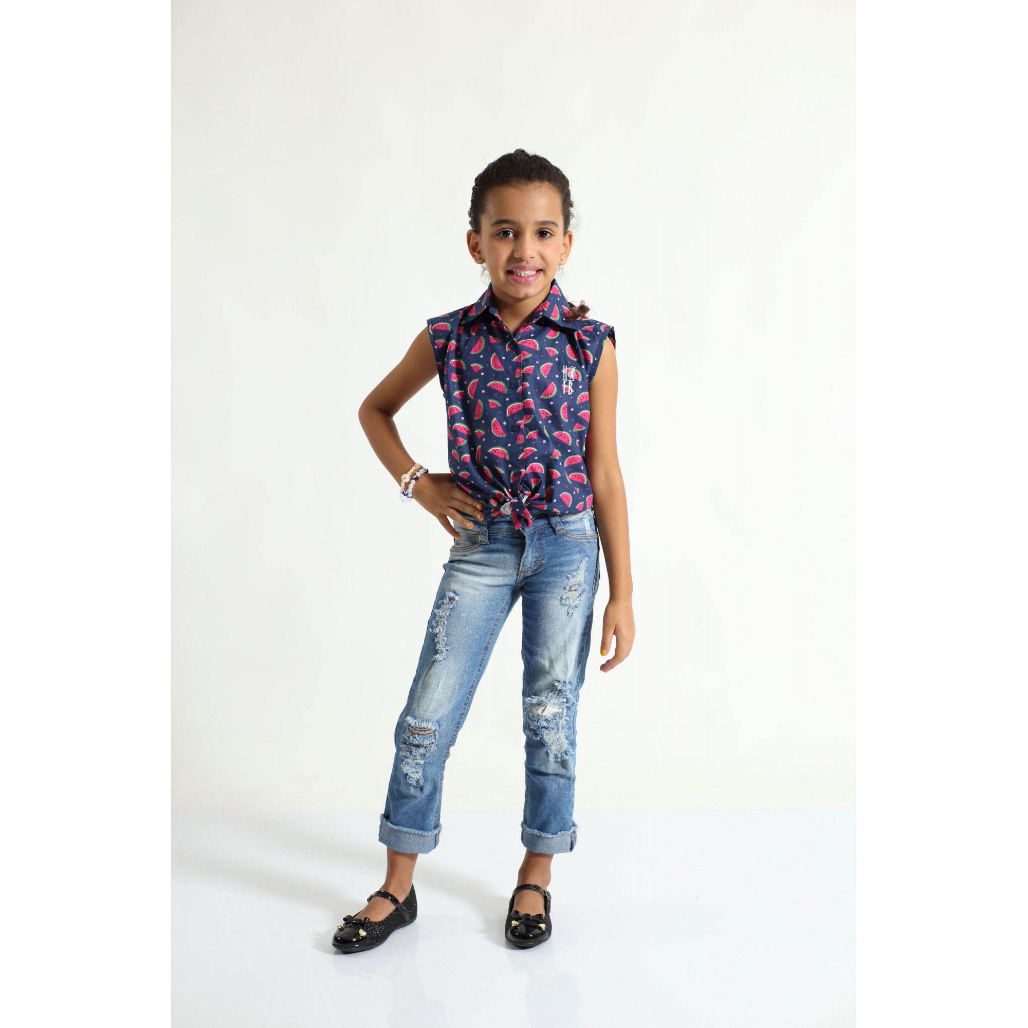 Camisa Social Sem Manga Melancia Feminina Infantil