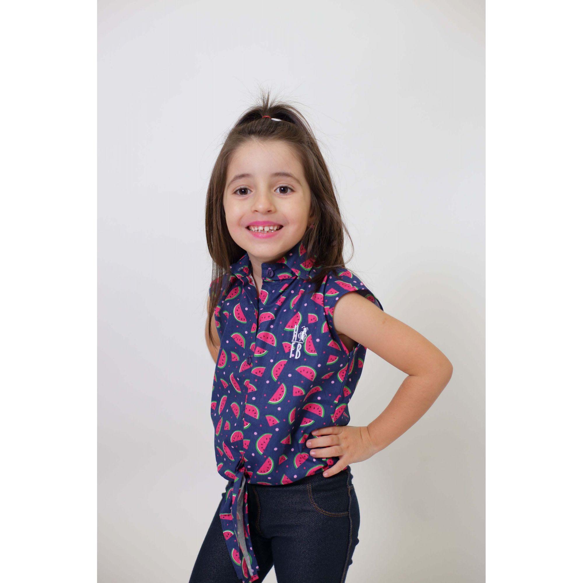 Camisa Social Sem Manga Melancia Feminina Infantil  - Heitor Fashion Brazil