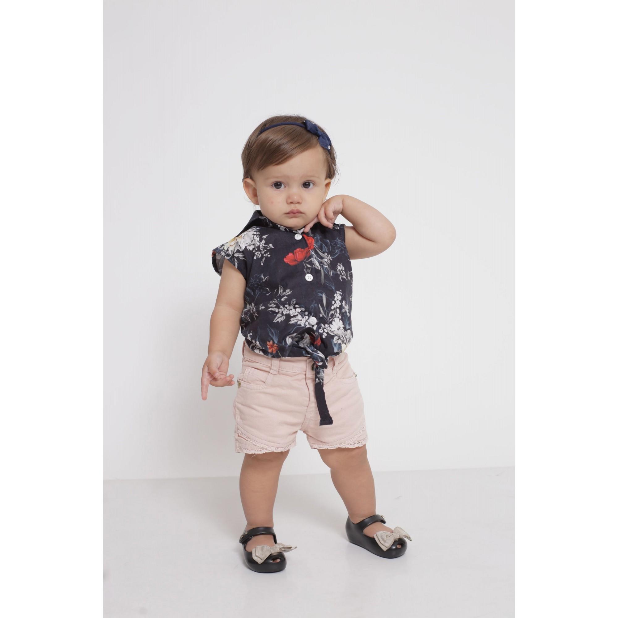 Camisa Social Sem Manga Preta Floral Feminina Infantil  - Heitor Fashion Brazil