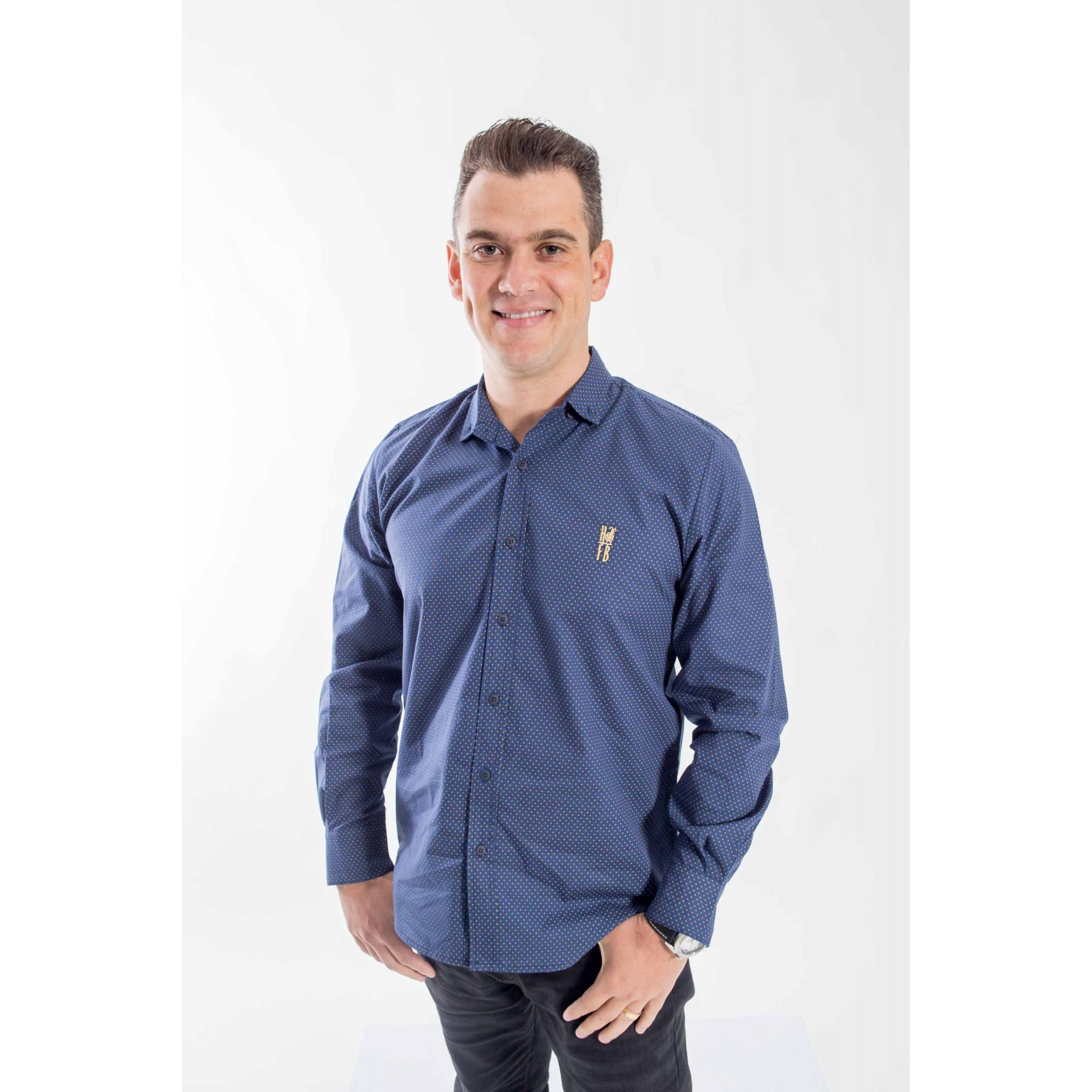 Camisa Social Steven Seagal Azul Marinho Adulta  - Heitor Fashion Brazil