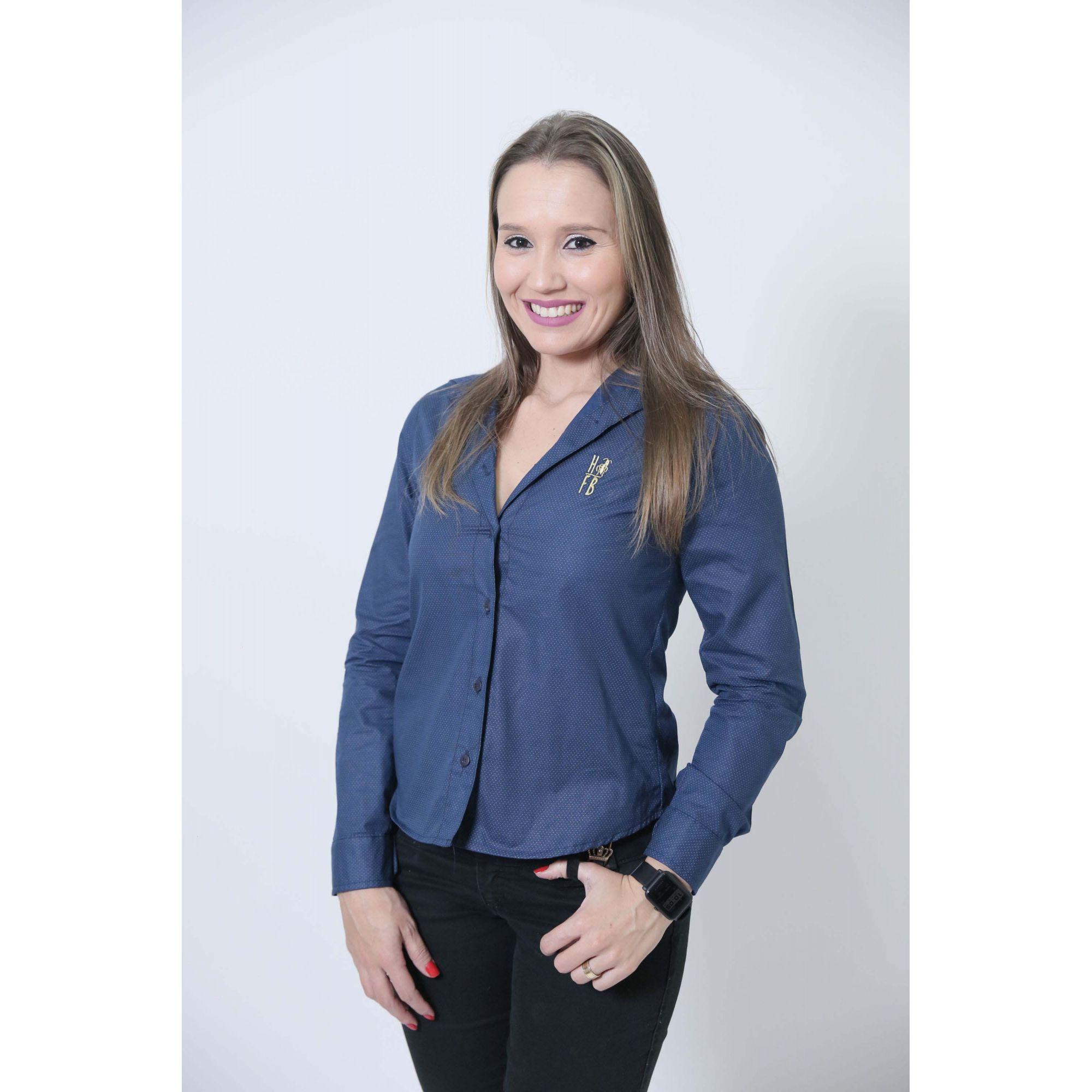 Camisa Social Steven Seagal Azul Marinho Feminina  - Heitor Fashion Brazil