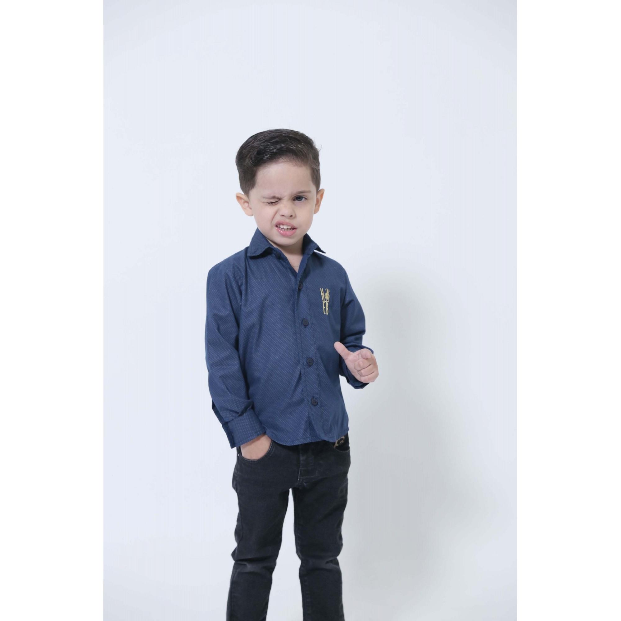Camisa Social Steven Seagal Azul Marinho Infantil  - Heitor Fashion Brazil