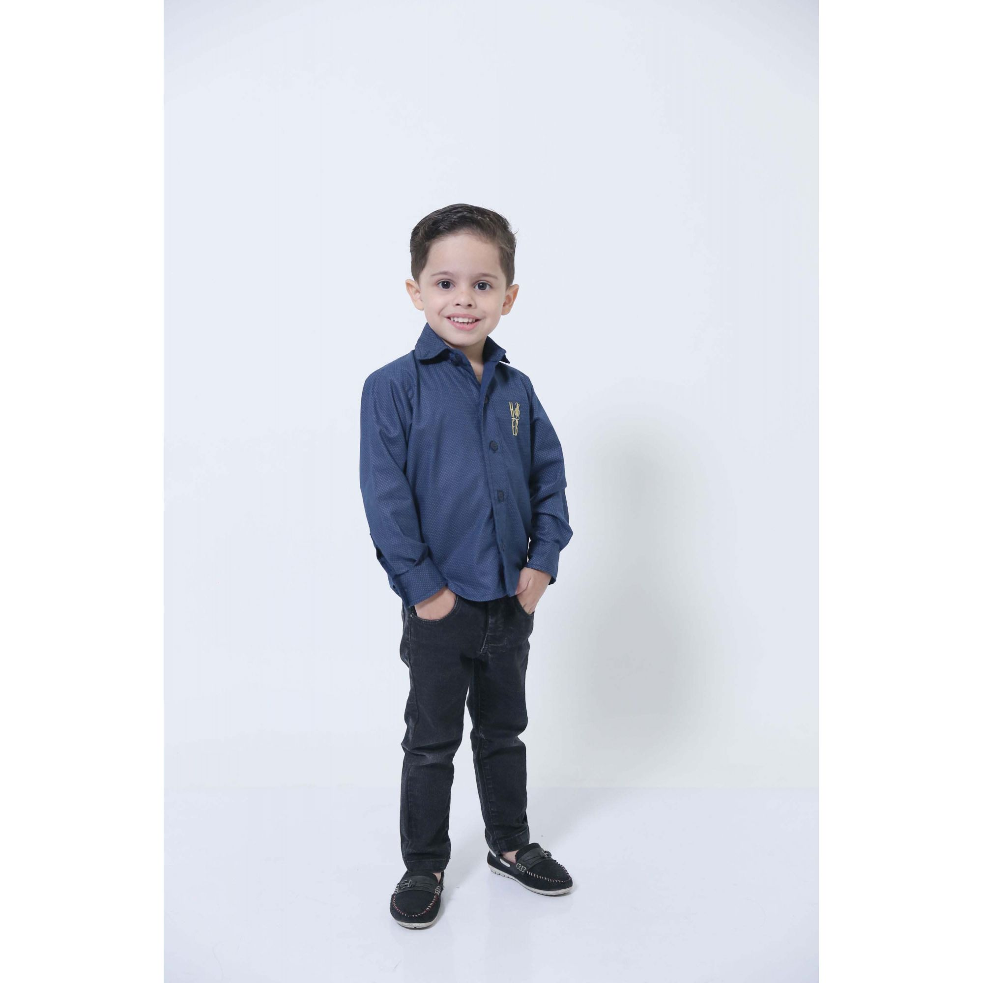 Camisa Social Steven Seagal Azul Marinho Infantil