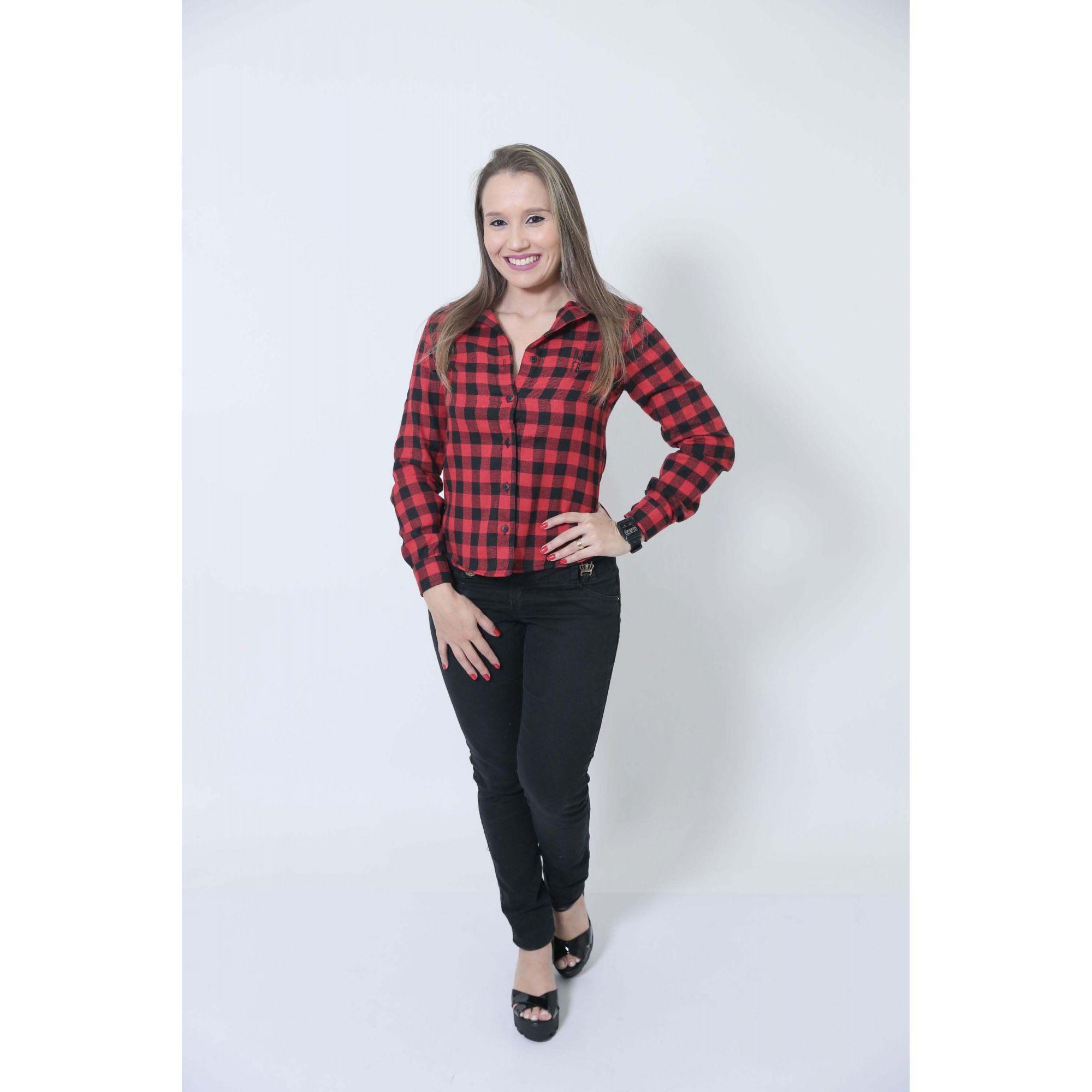 Camisa Social Xadrez Flanelada Lenhador Feminina  - Heitor Fashion Brazil
